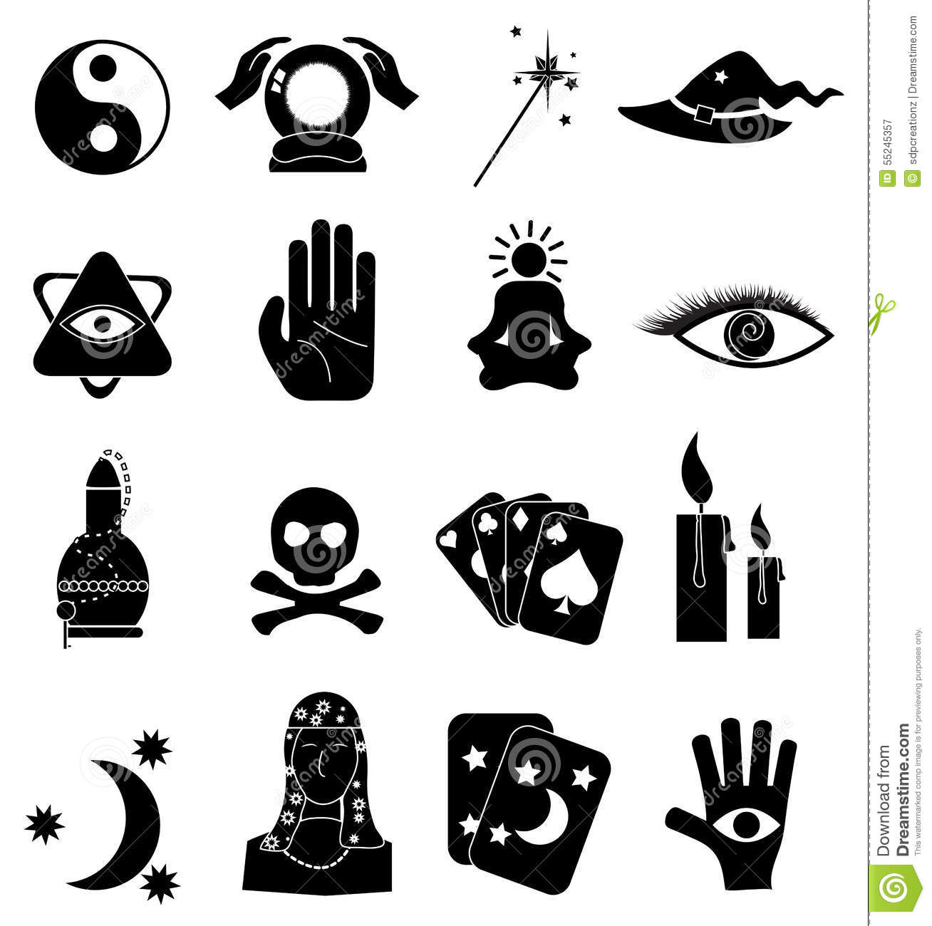 fortune teller icons set stock vector image 55245357. Black Bedroom Furniture Sets. Home Design Ideas