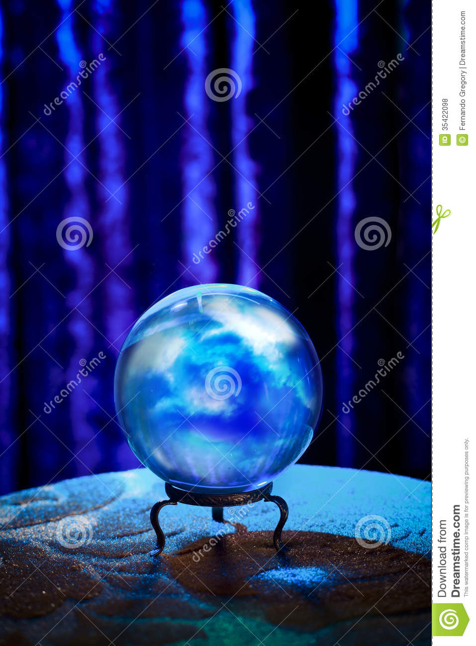 Fortune Teller's Crystal Ball With Dramatic Lighting Stock