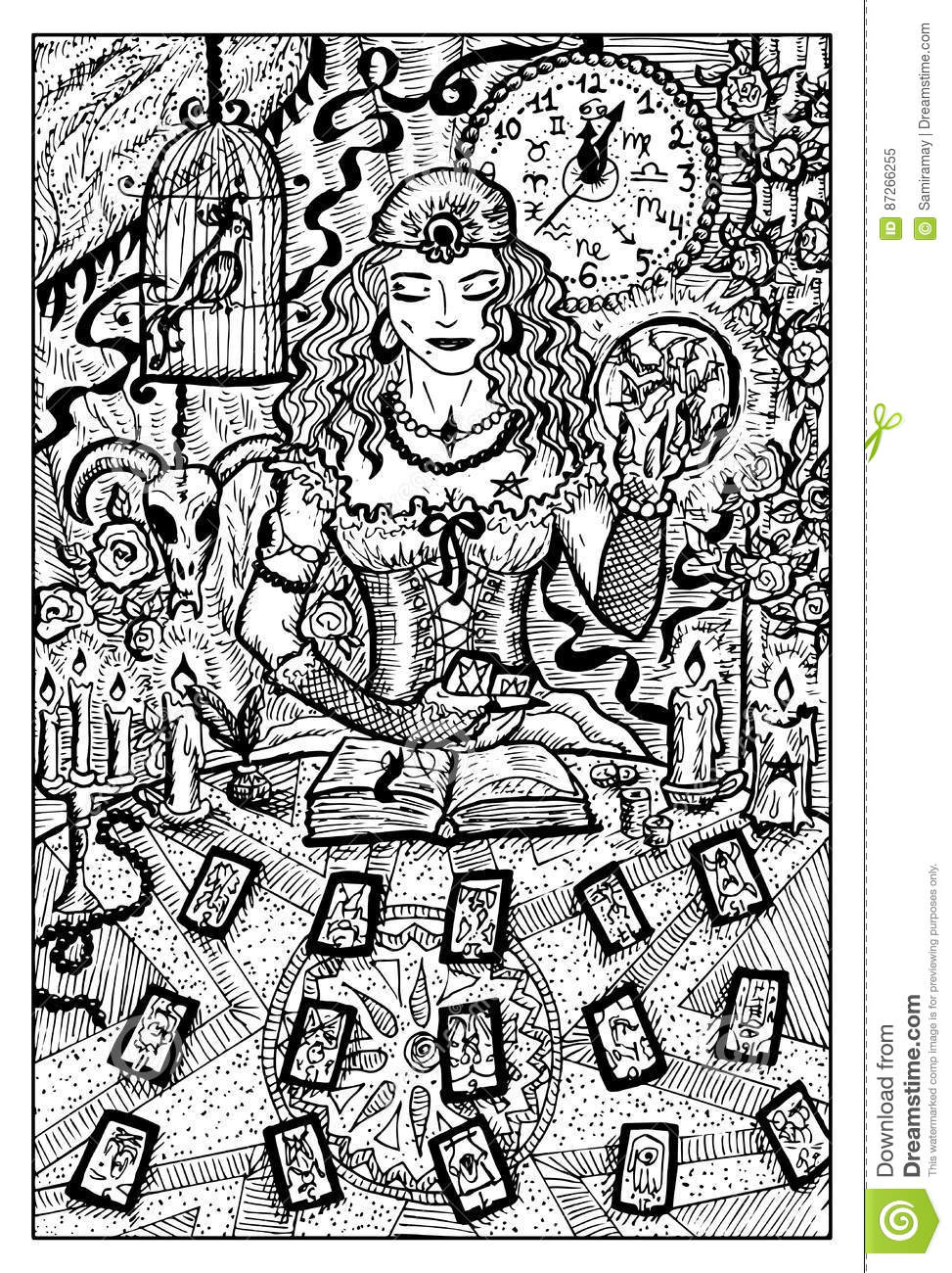 Fortune Teller With Tarot Cards, Hand Drawn Illustration