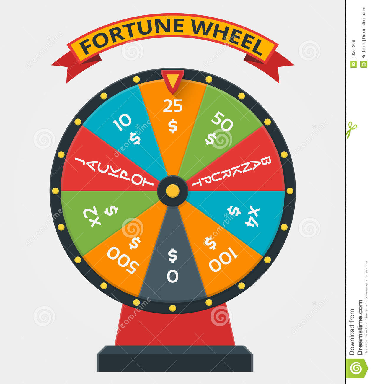 Fortune Wheel In Flat Vector Style Stock Vector - Image ...