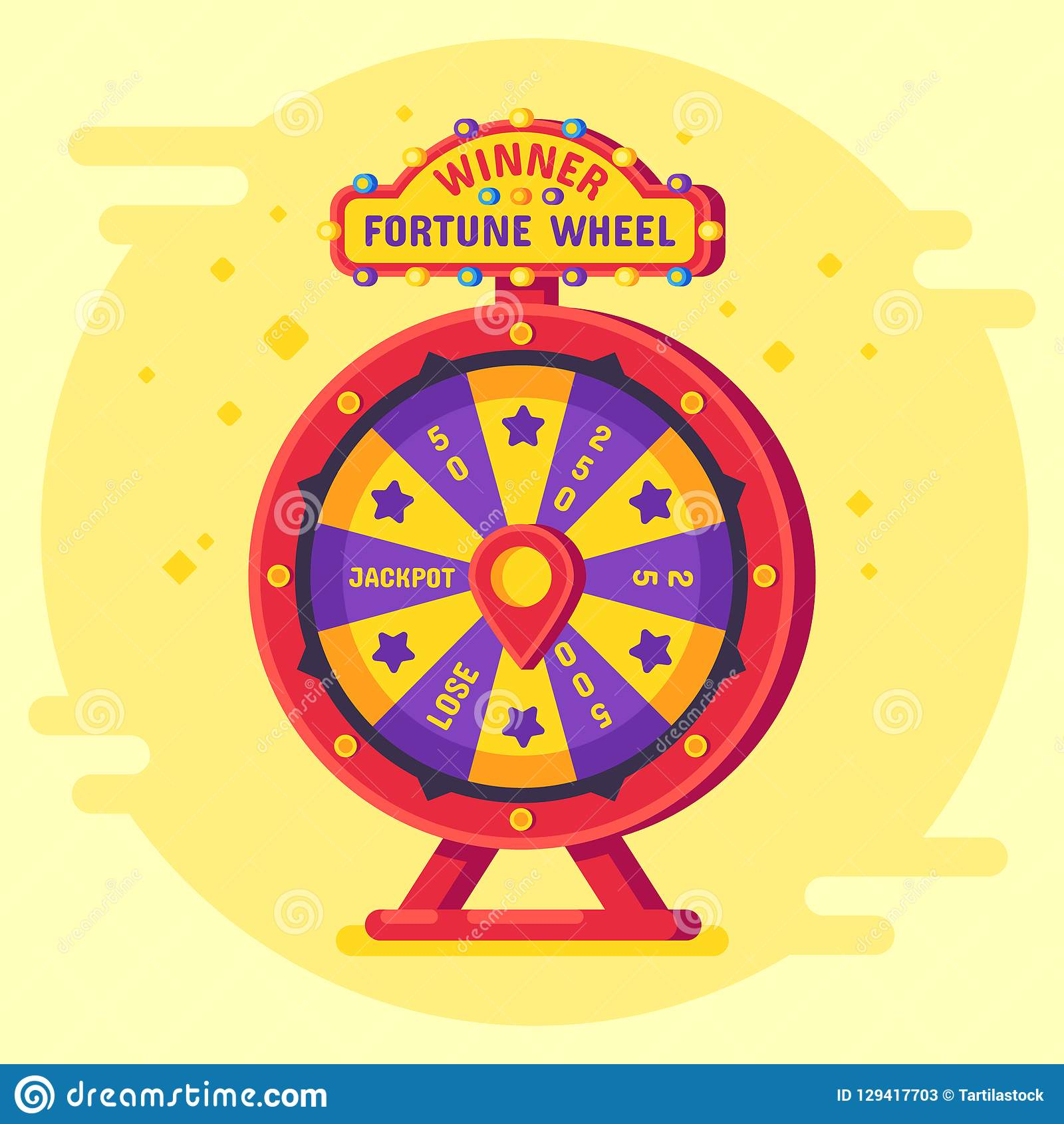 Fortune Wheel Winner Lucky Chance Spin Wheels Game Modern Turning Money Roulette And Gambling Vector Flat Poster Stock Vector Illustration Of Bankruptcy Failure 129417703