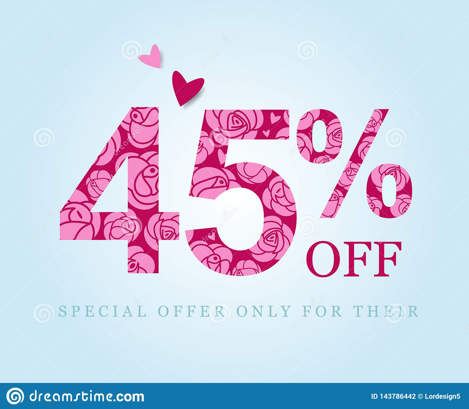 Forty five percent discount. sale. Pink roses