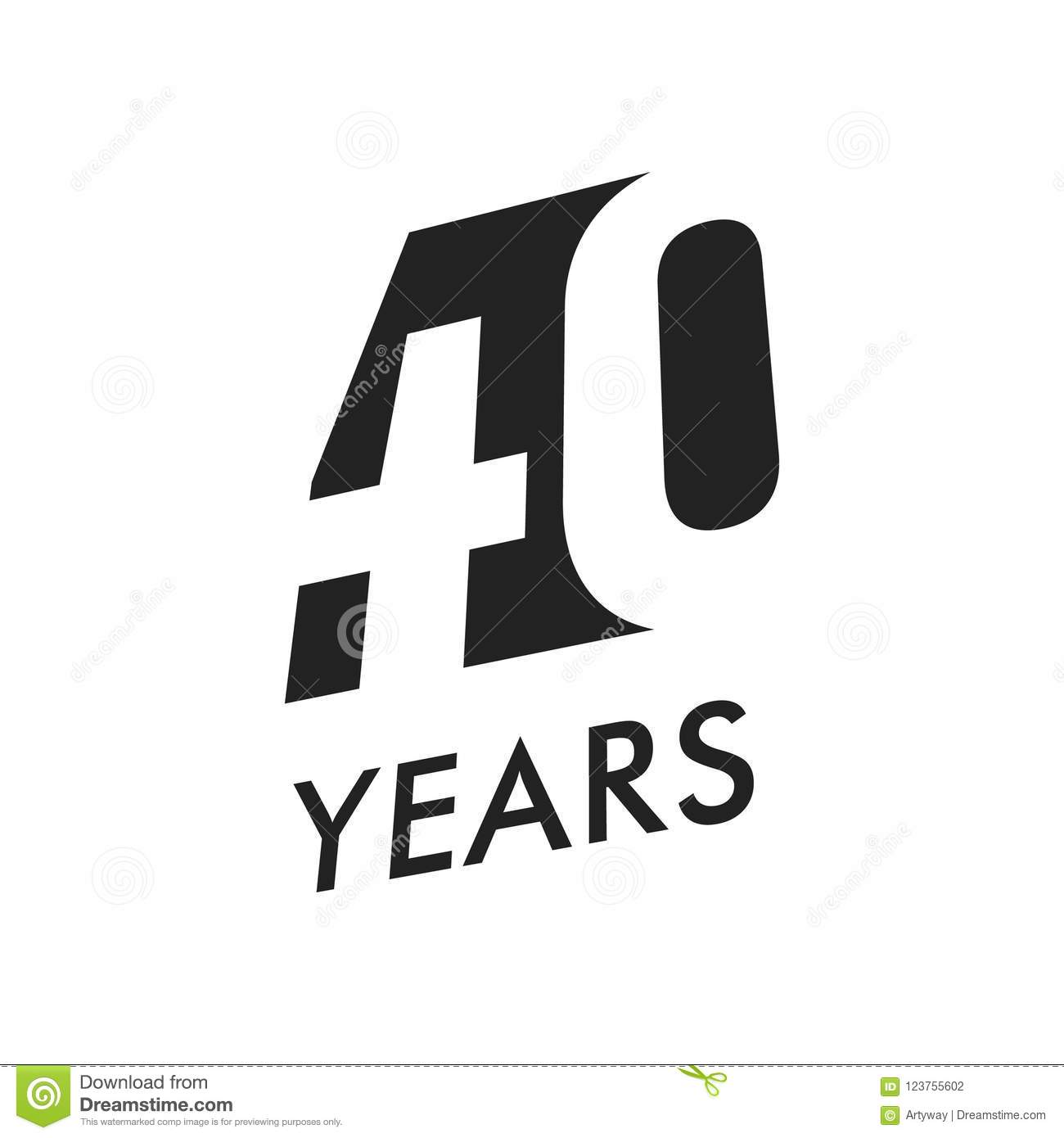 Forty Years Vector Emblem Template Anniversary Symbol Negative