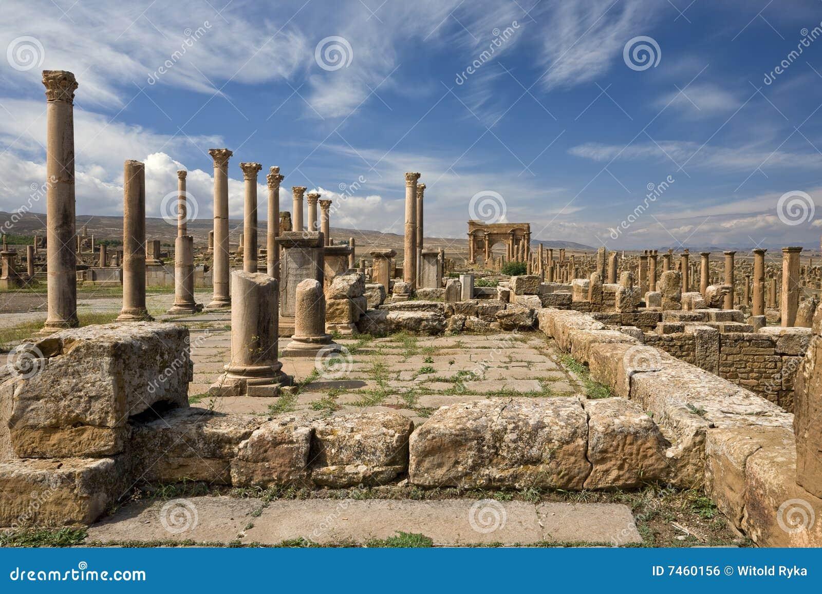 Forum of ancient Thamugadi stock photo  Image of ruined