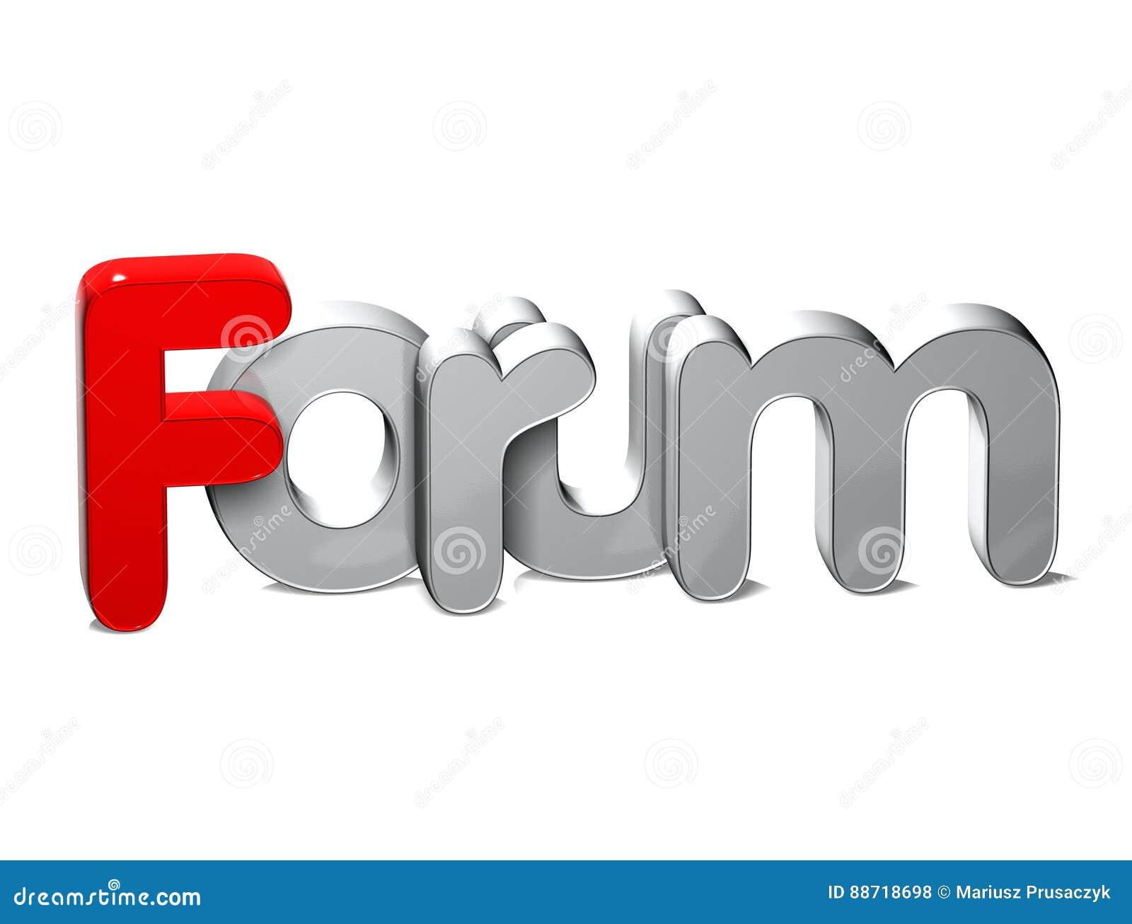 Forum di parola 3D sopra fondo bianco