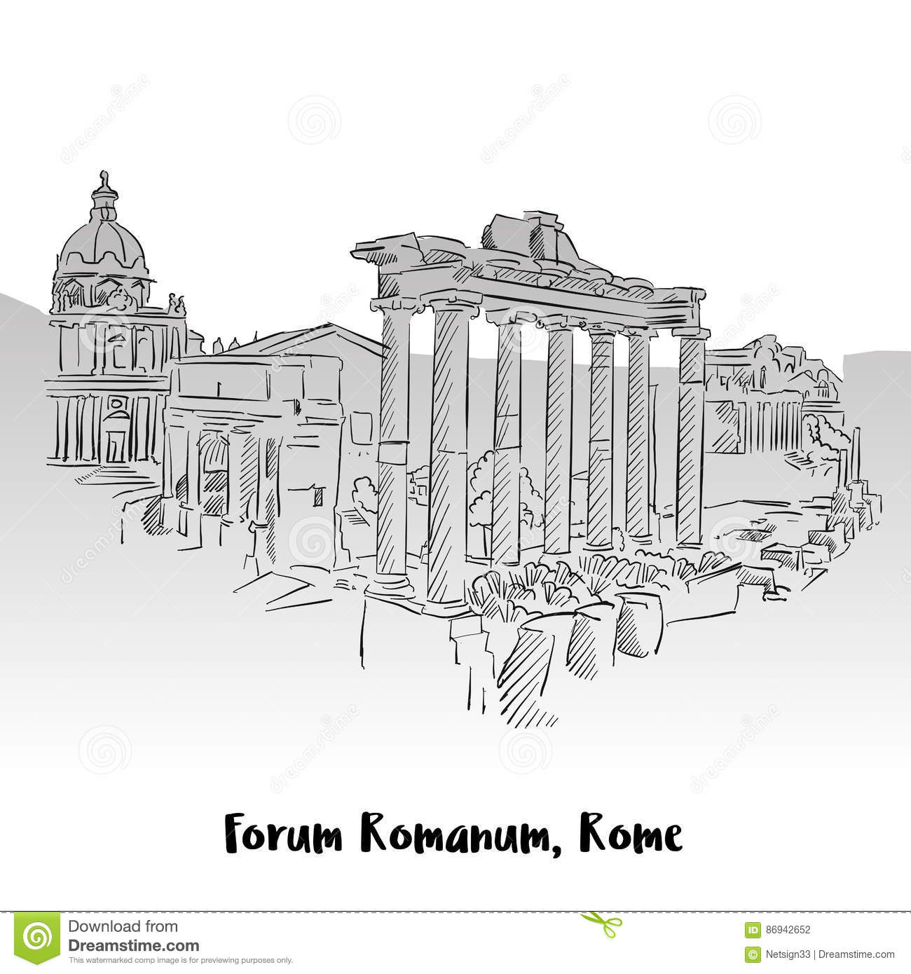 Forum Romanum, Rome, Greeting Card Stock Vector