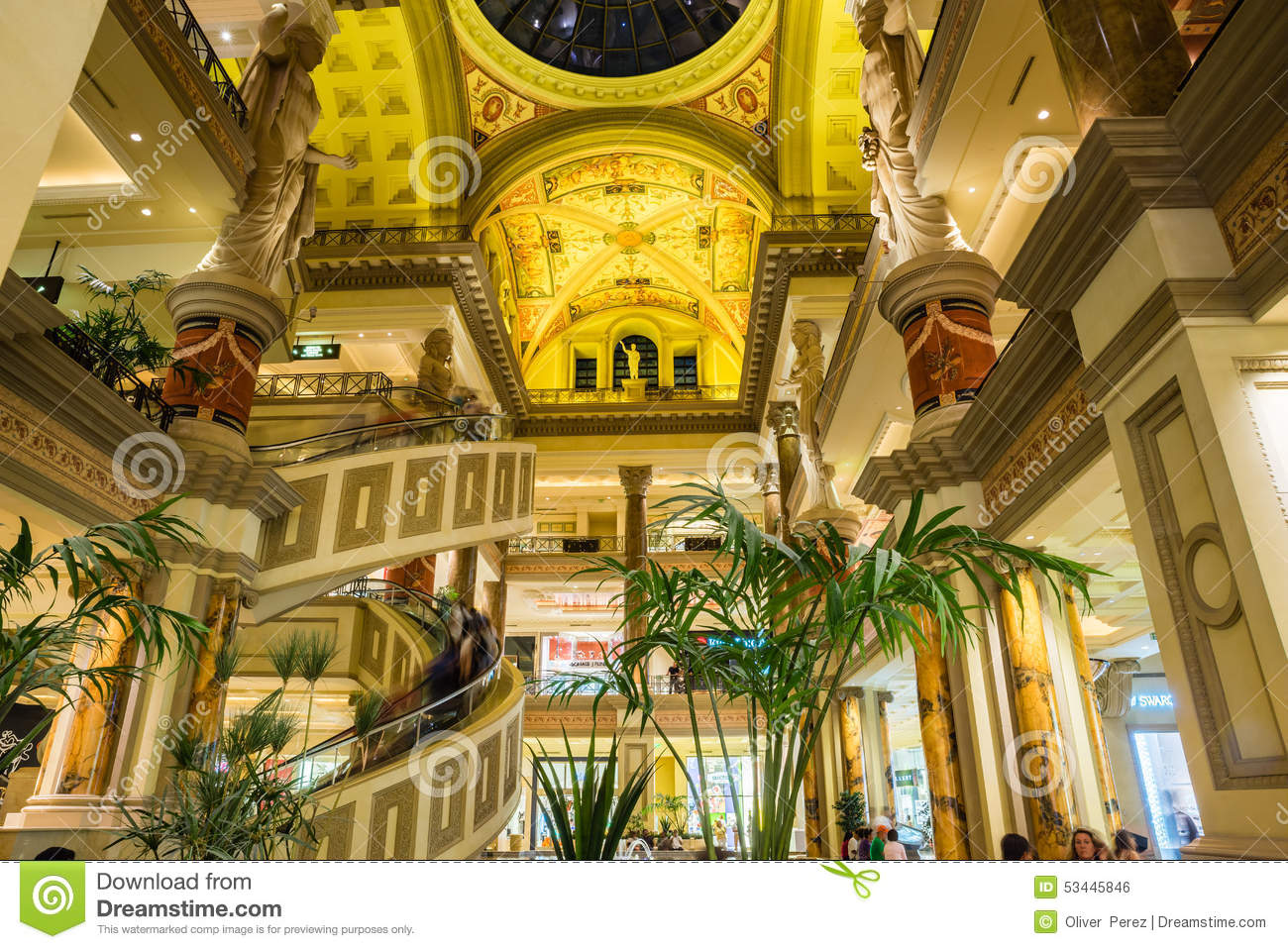the forum shops view of three floors of shopping at caesars pal editorial photo image of. Black Bedroom Furniture Sets. Home Design Ideas