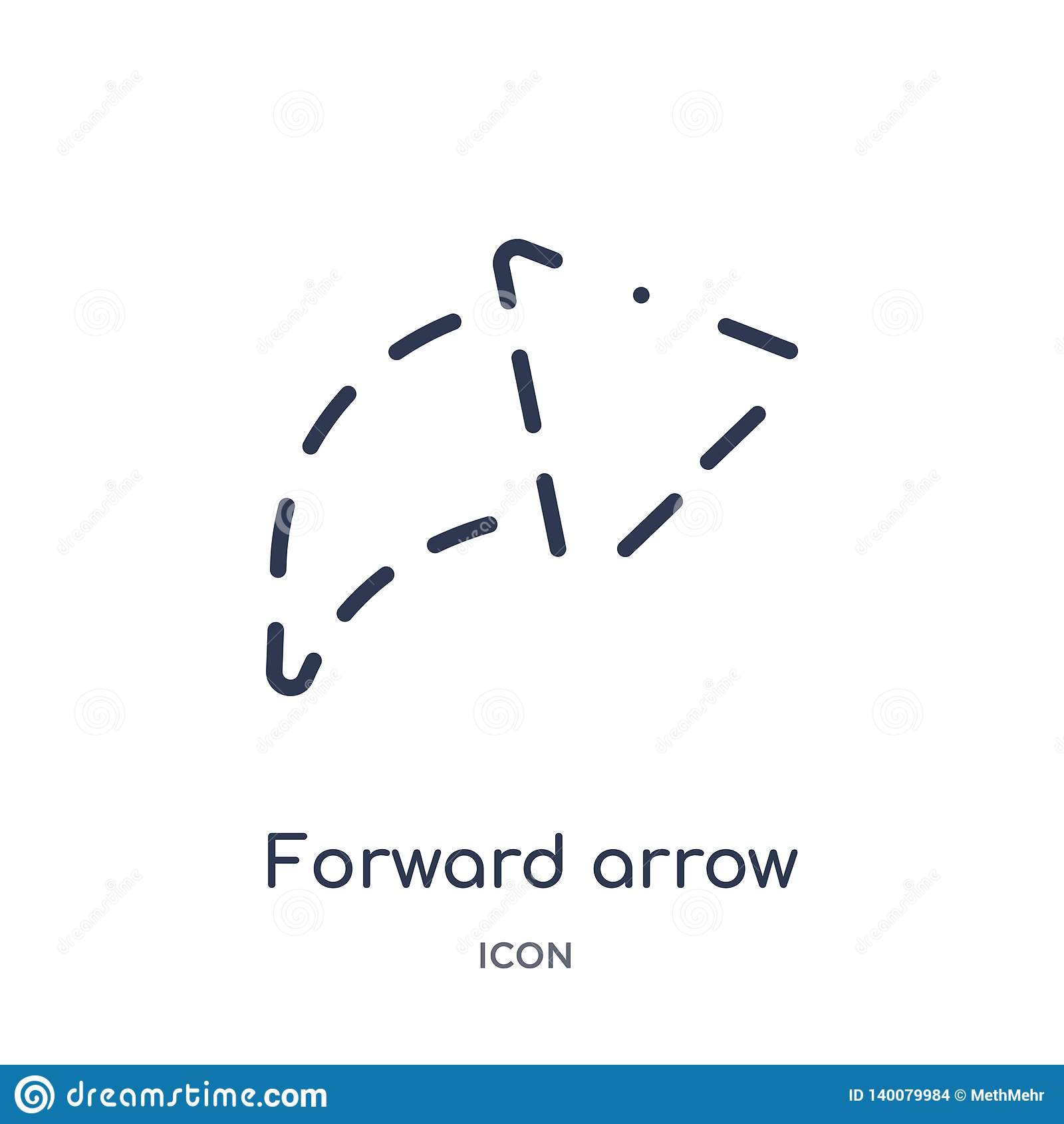 forward arrow with broken icon from user interface outline collection. Thin line forward arrow with broken icon isolated on white