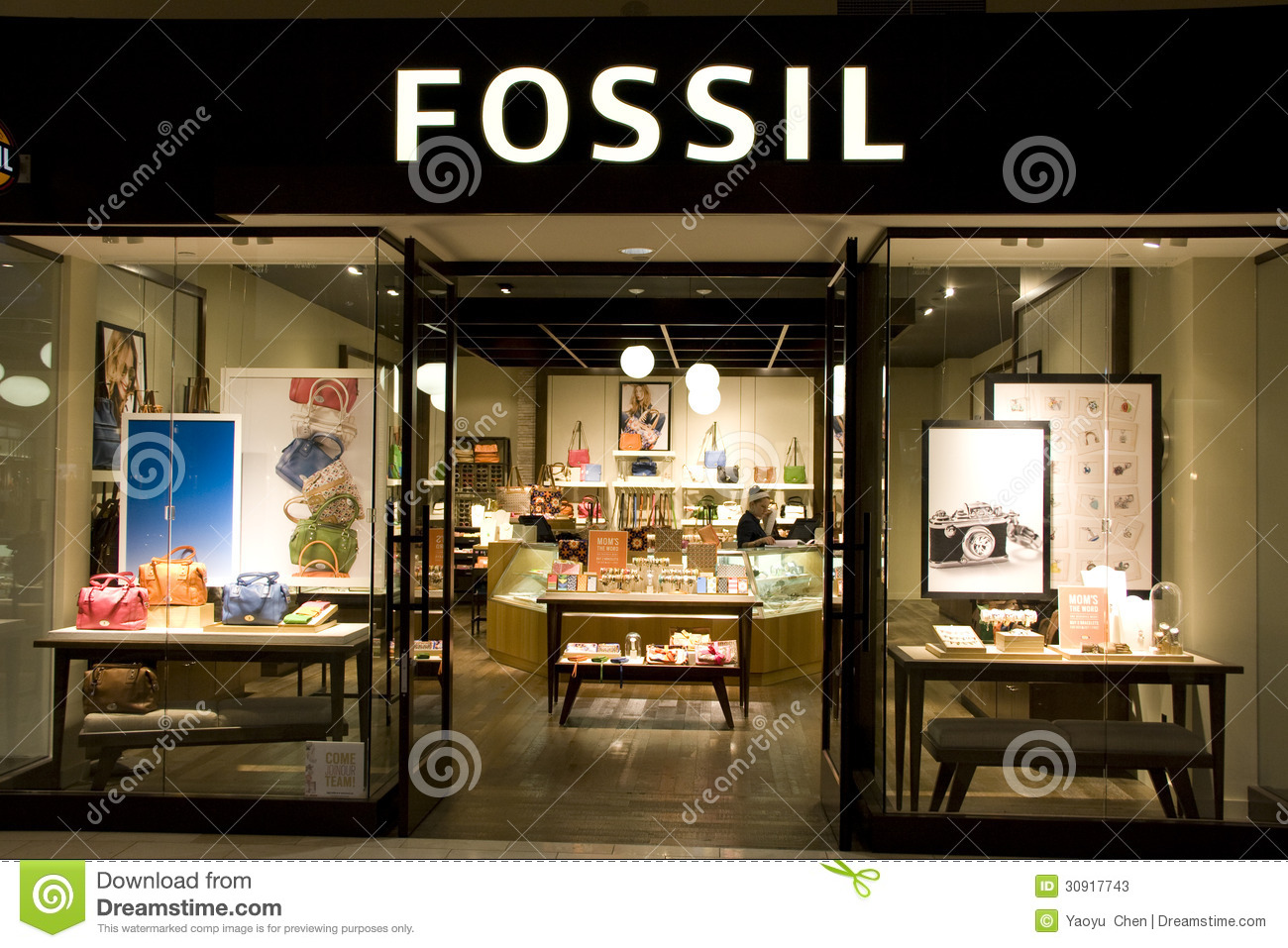 Fossil fashion store editorial stock photo. Image of women