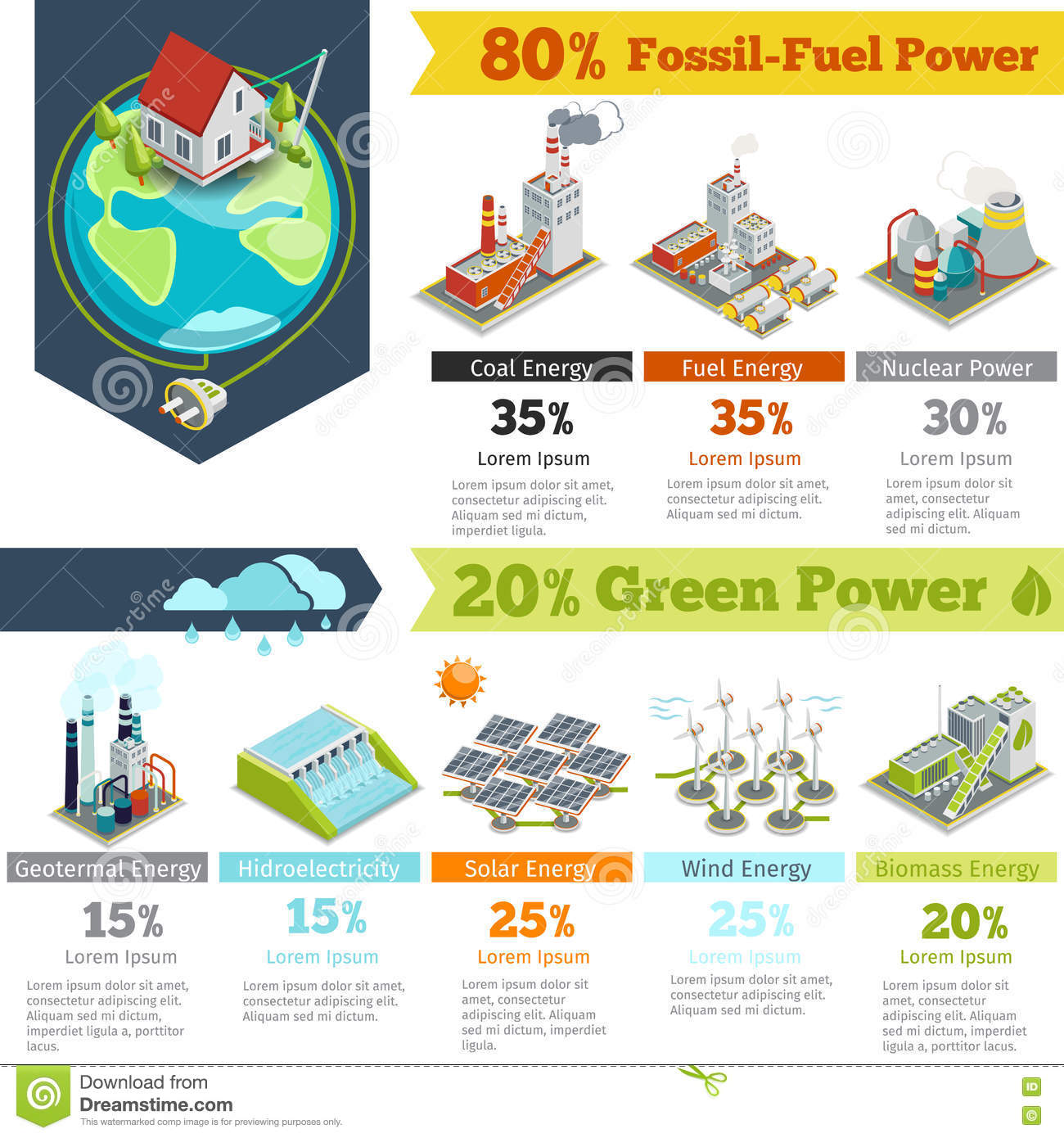Fossil Fuel Power And Renewable Energy Generation Infographics Stock How Electricity From Biomass Works