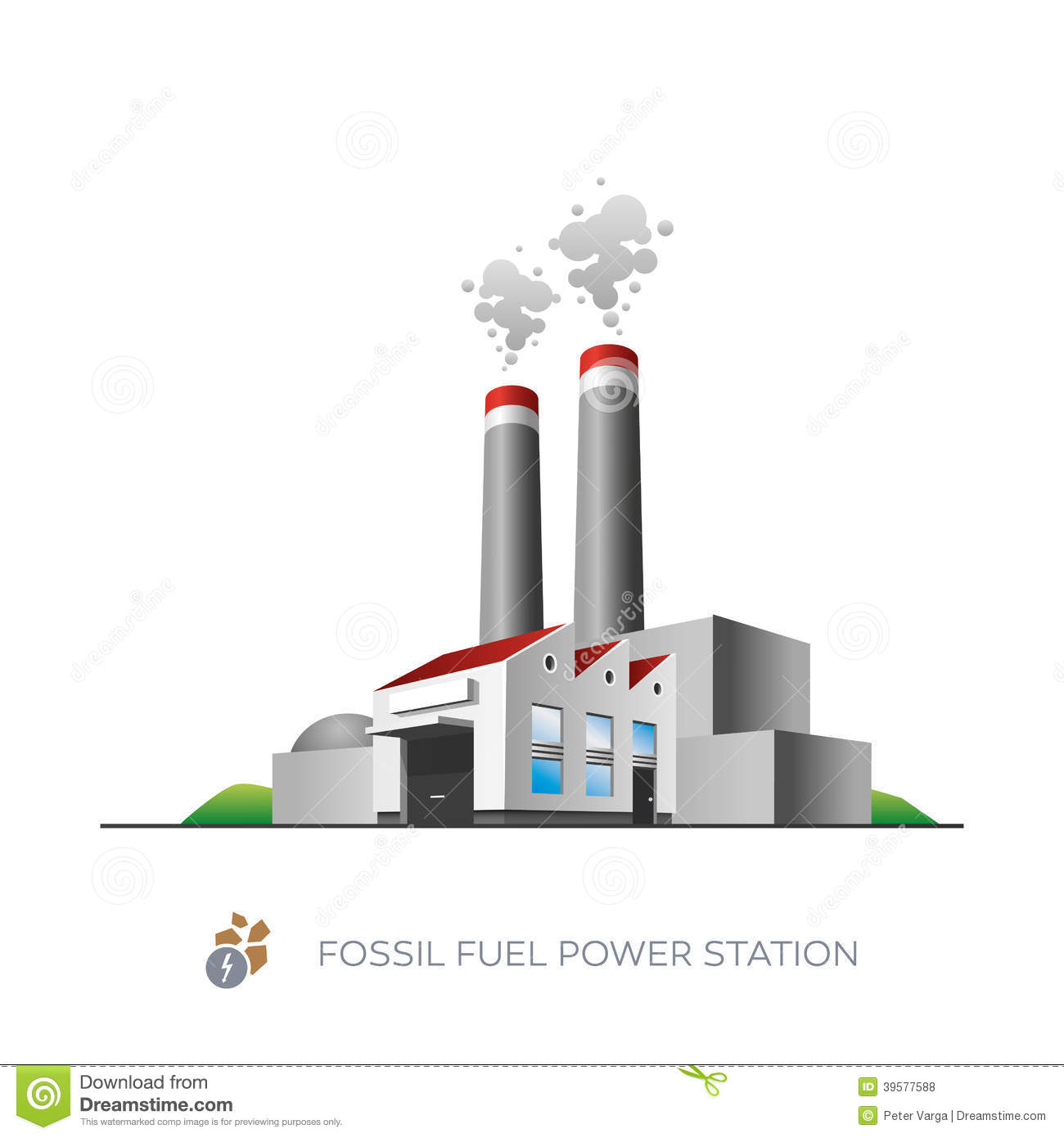 Fossil fuel power station stock vector. Illustration of ...