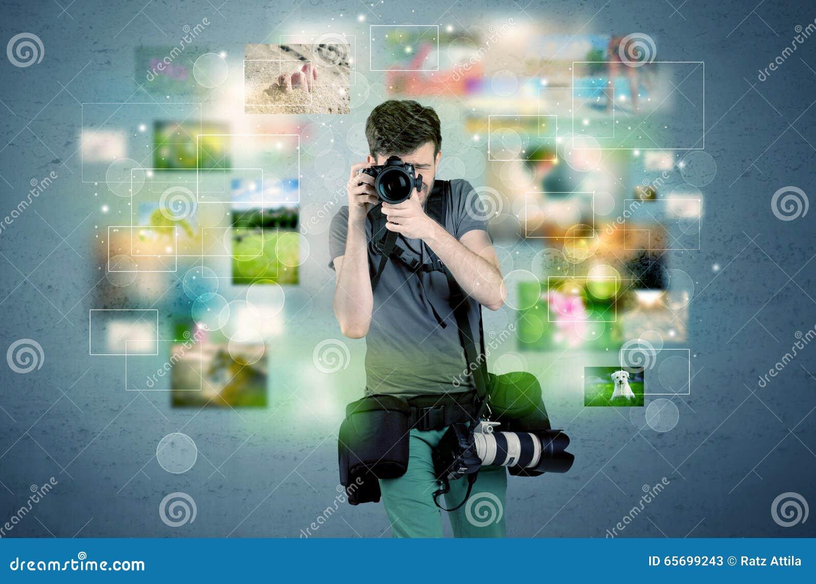 Fotógrafo com imagens do passado