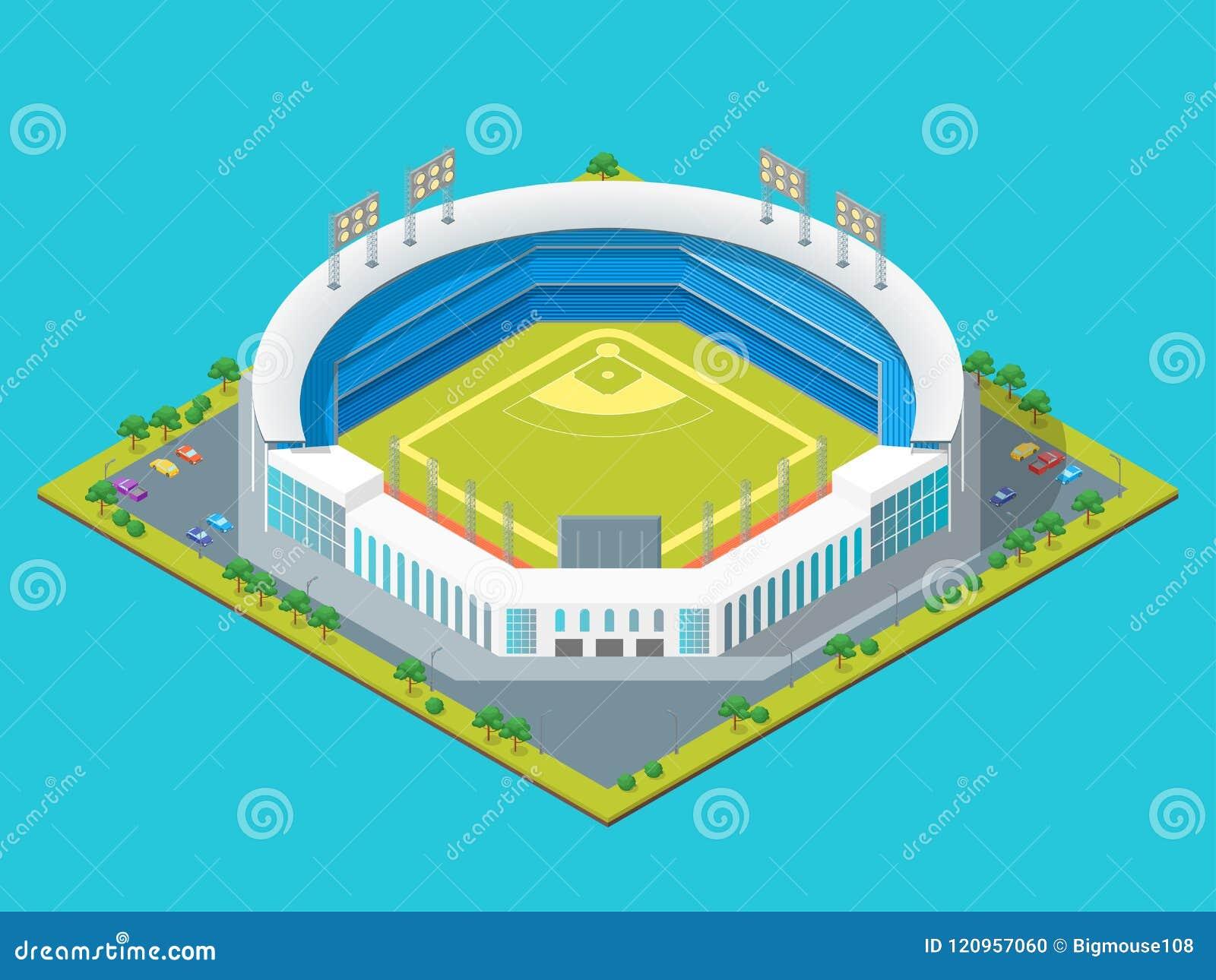 Fotboll eller baseball parkerar eller den isometriska sikten för stadionbegrepp 3d vektor