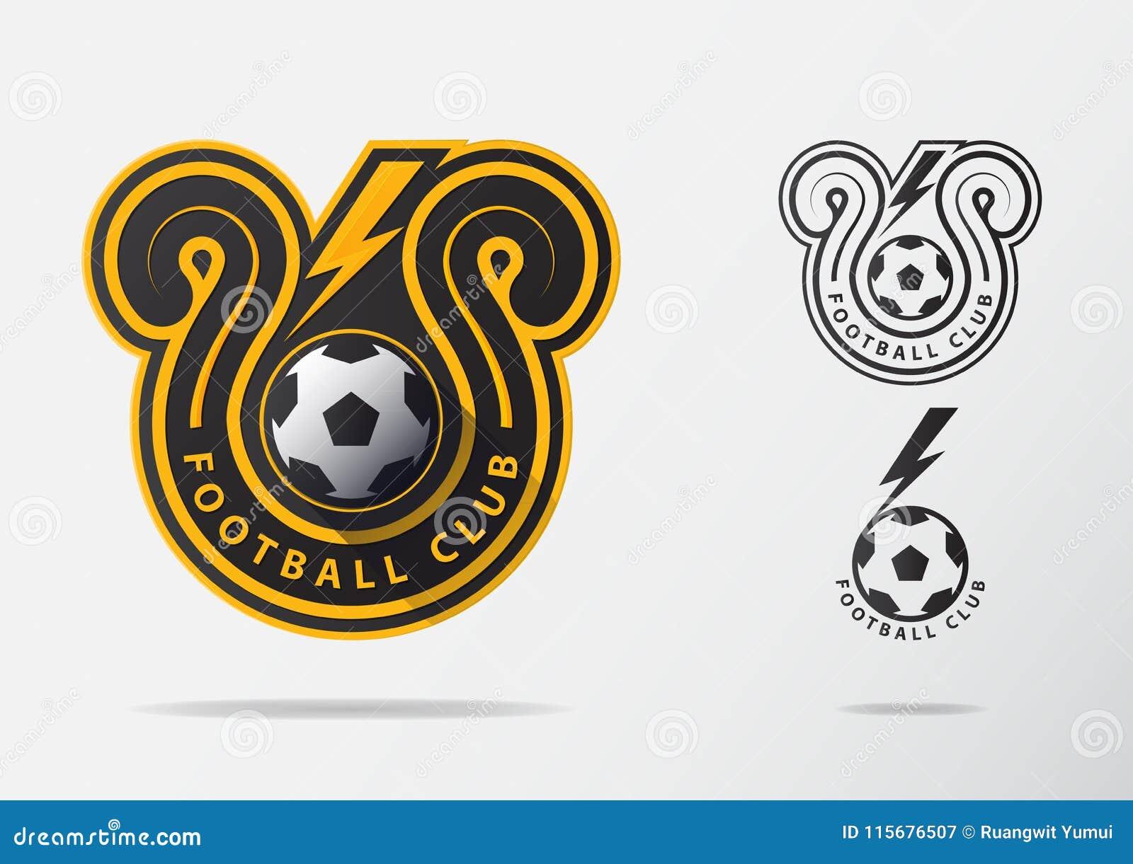 Fotboll- eller fotbollemblem Logo Design för fotbollslag Minsta design av guld- åskvigg och den svartvita fotbollbollen