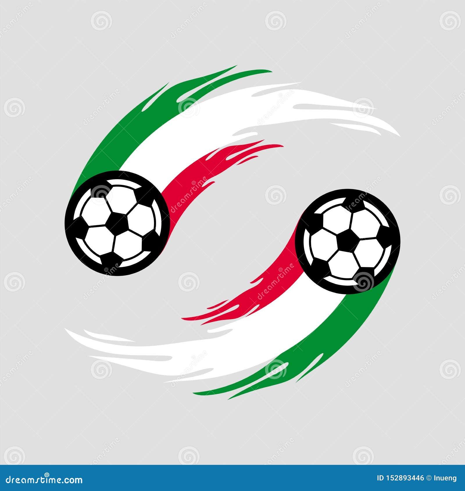 Fotboll eller fotboll med brandsvansen i den Italien flaggan