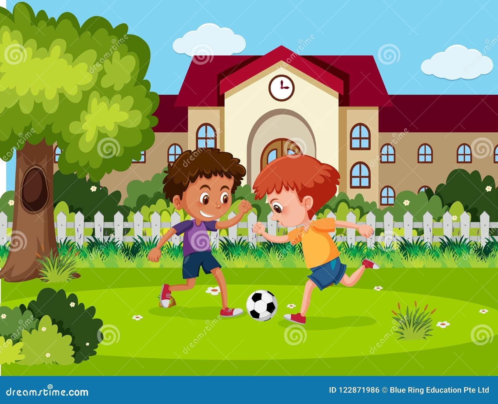 Fotboll för barnlek på skolan