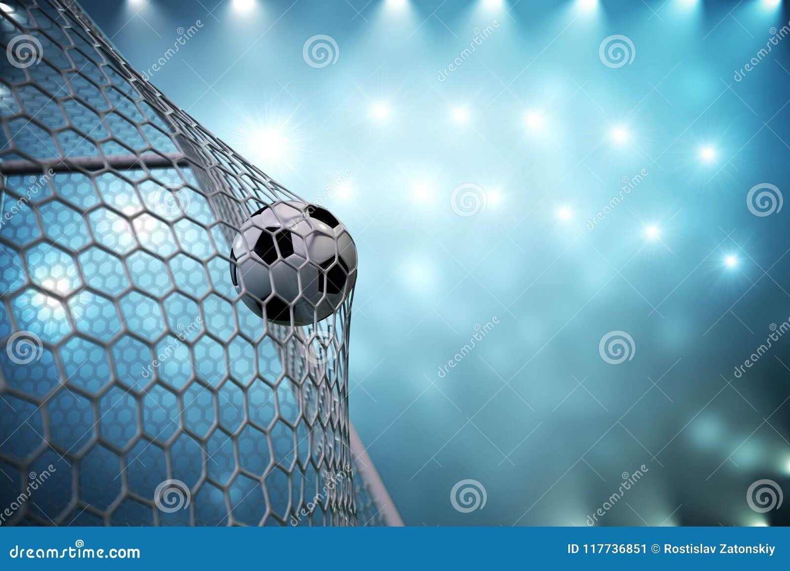 Fotbollboll för tolkning 3d i mål Fotbollboll i netto med ljus bakgrund för strålkastare och för stadion, framgångbegrepp