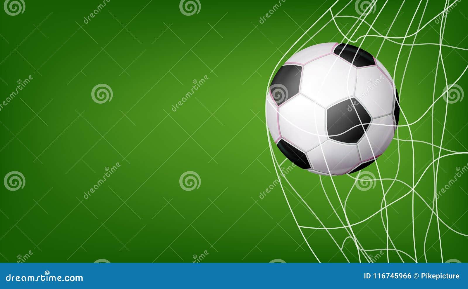 Fotbollboll i netto vektor Slå mål Inbjudansportaffisch, baner, broschyrdesign Isolerat på grön bakgrund