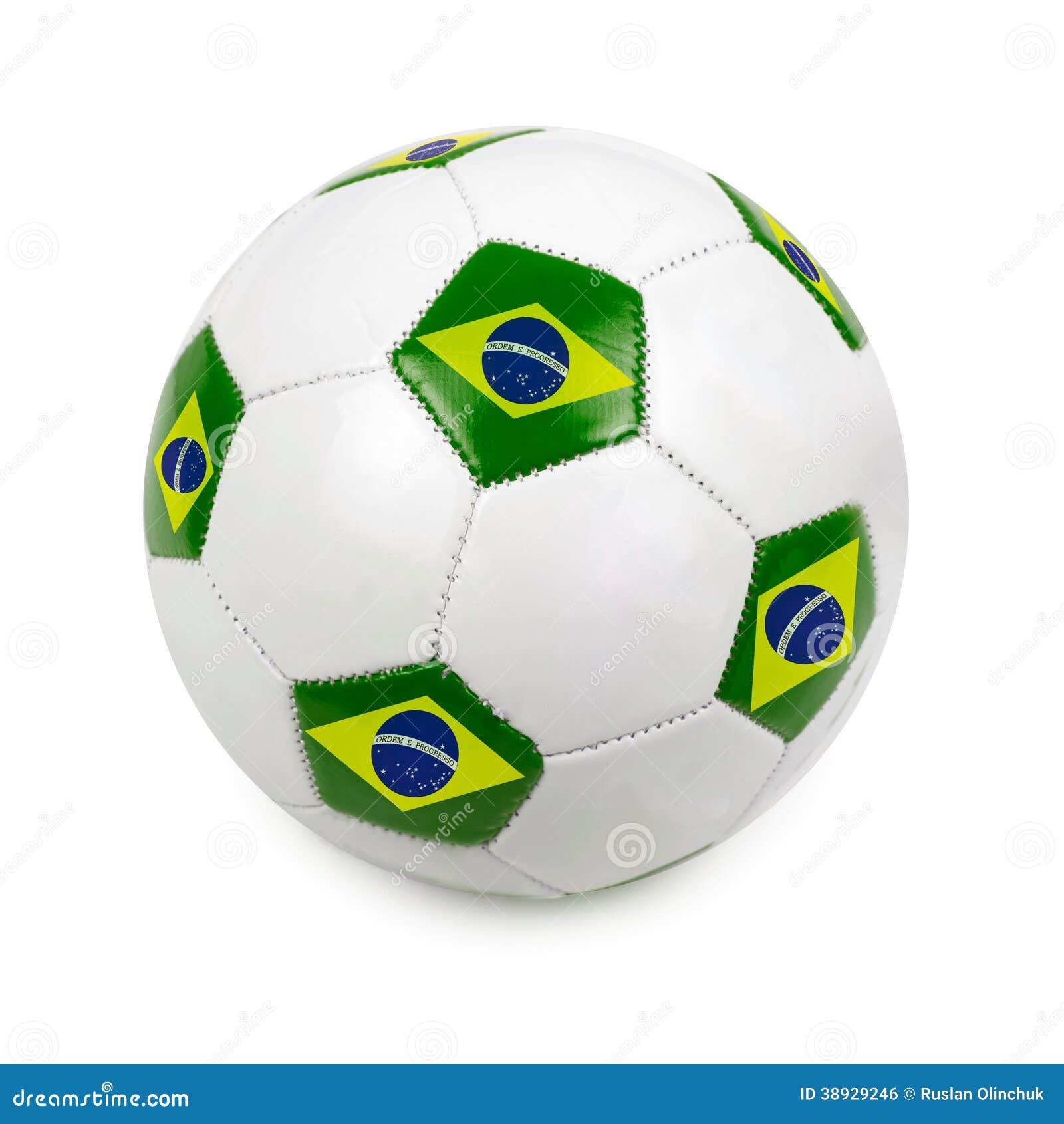 Fotbollboll med den brasilianska flaggan