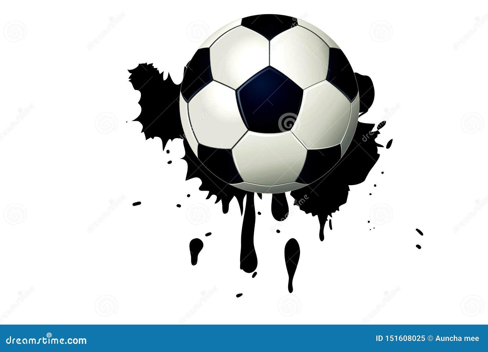 Fotbollboll på svart vattenfärgfläck med målarfärgfärgstänk- och borsteslaglängder