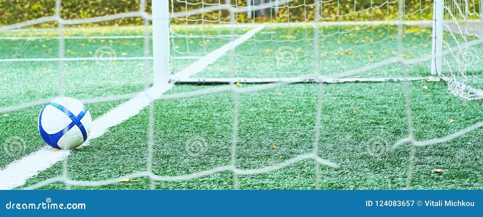 Fotbollboll som ligger på mållinjen Foto till och med portrastret