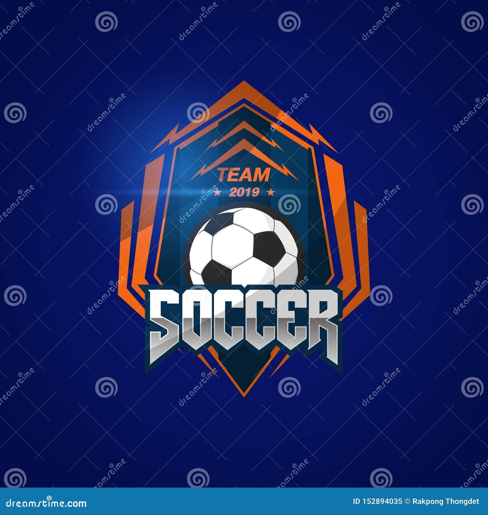 Fotbollfotbollemblem Logo Design Templates | Sport Team Identity Vector Illustrations som isoleras p? bl? bakgrund