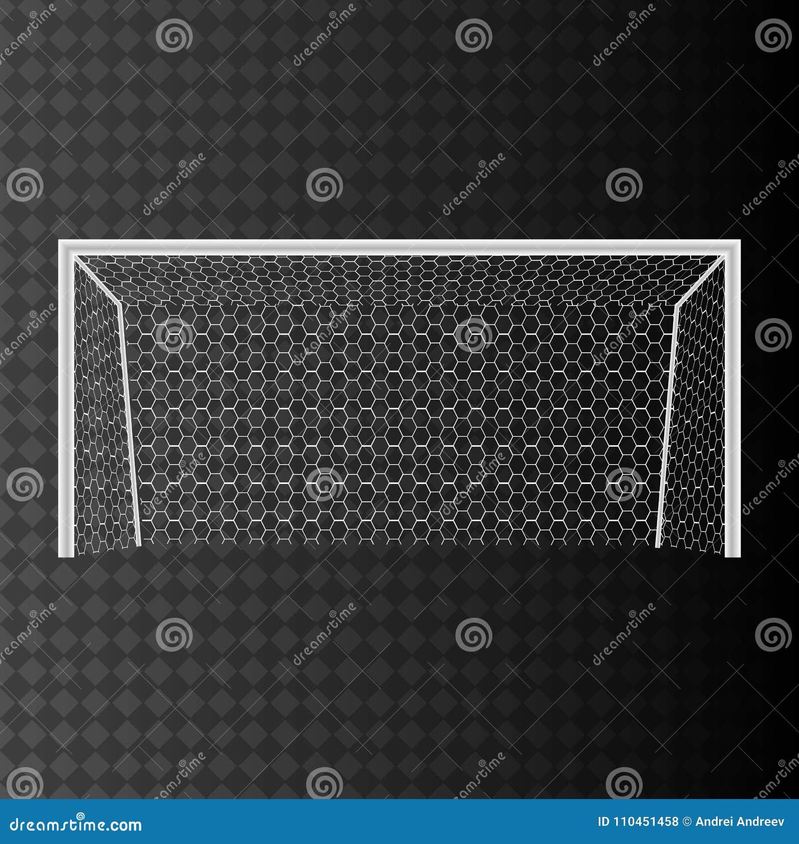 Fotbollmål med netto på en genomskinlig bakgrund