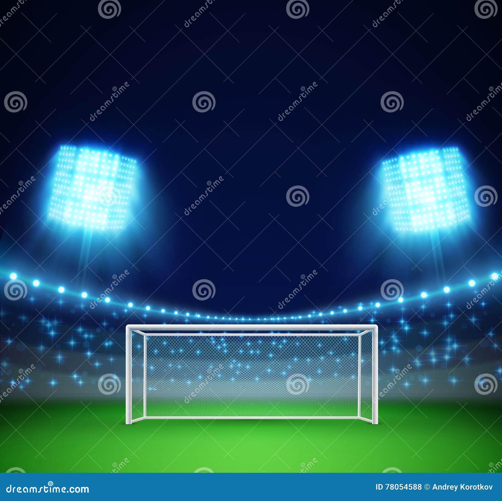 Fotbollsarena med ljus och tribun