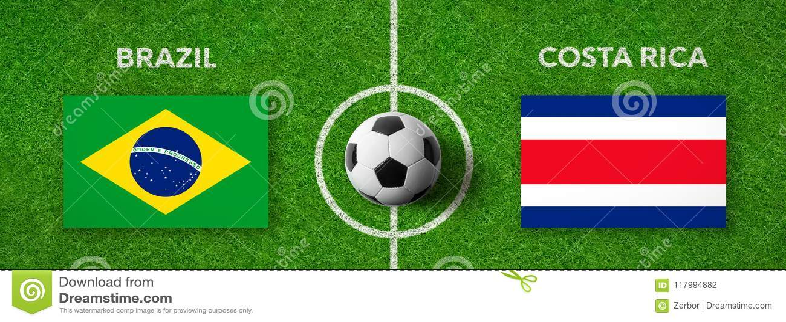 Fotbollsmatch Brasilien vs Costa Rica