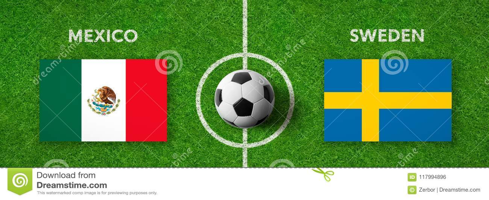 Fotbollsmatch Mexico vs sweden