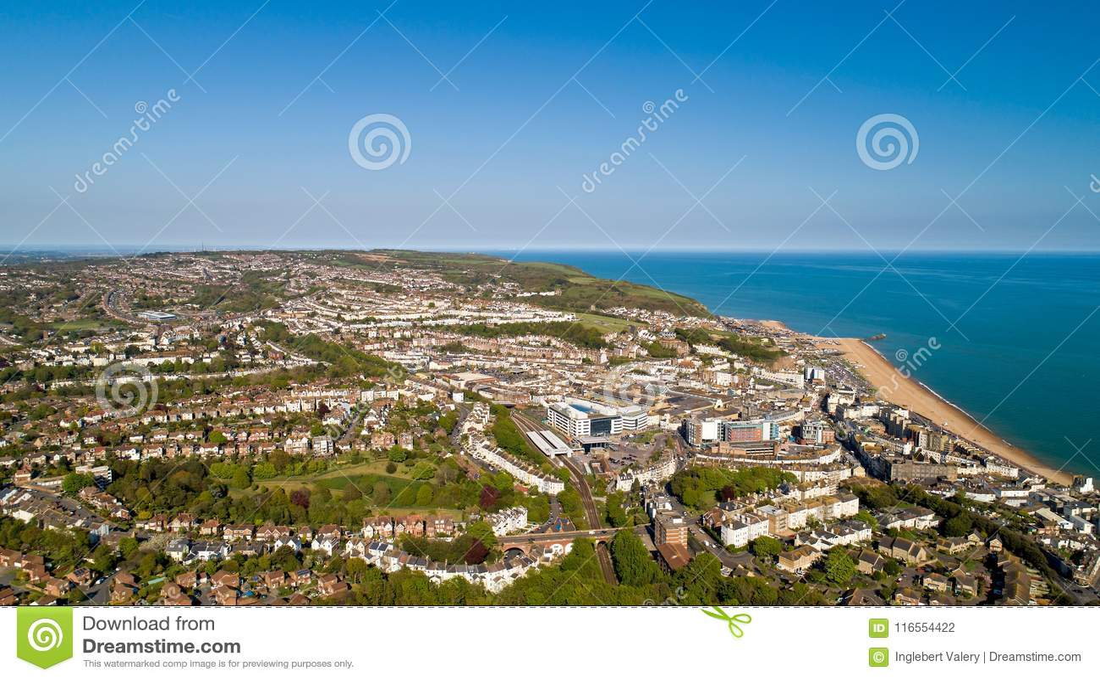 Foto aérea de Hastings, Sussex del este, Inglaterra