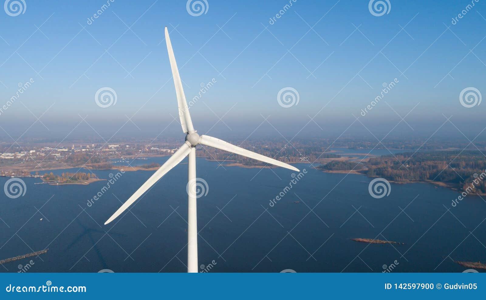 Foto aérea de la turbina de viento Visión superior