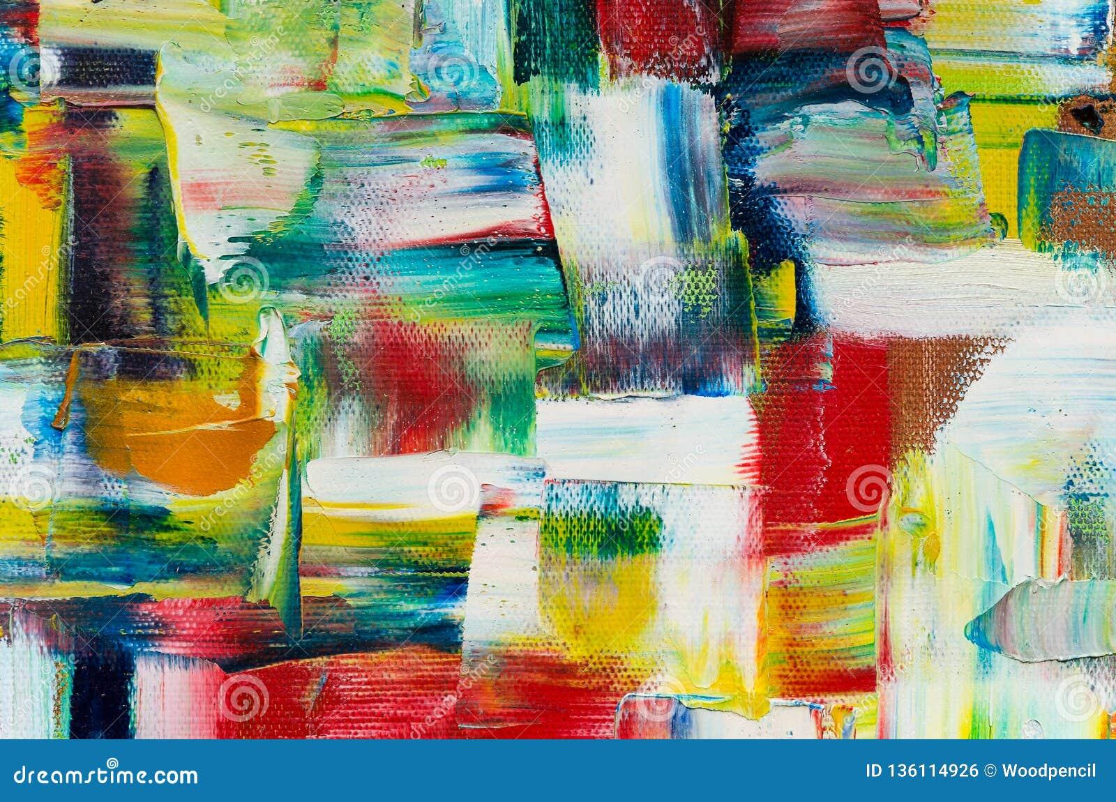 Foto alta vicina di pittura a olio su tela La struttura variopinta ha mescolato le pitture ad olio nei colori differenti Grande v