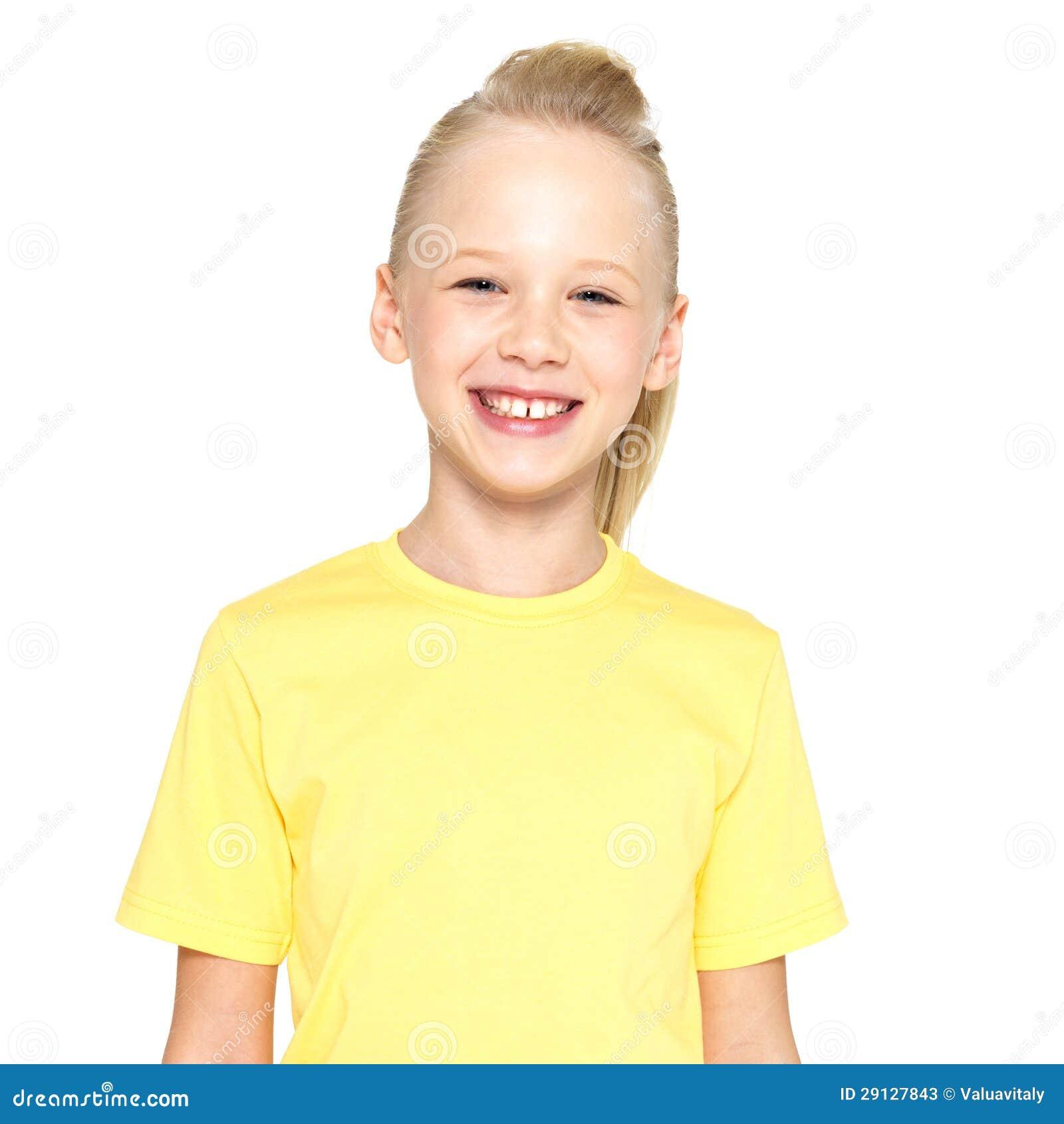 Foto av att skratta den härliga lyckliga flickan