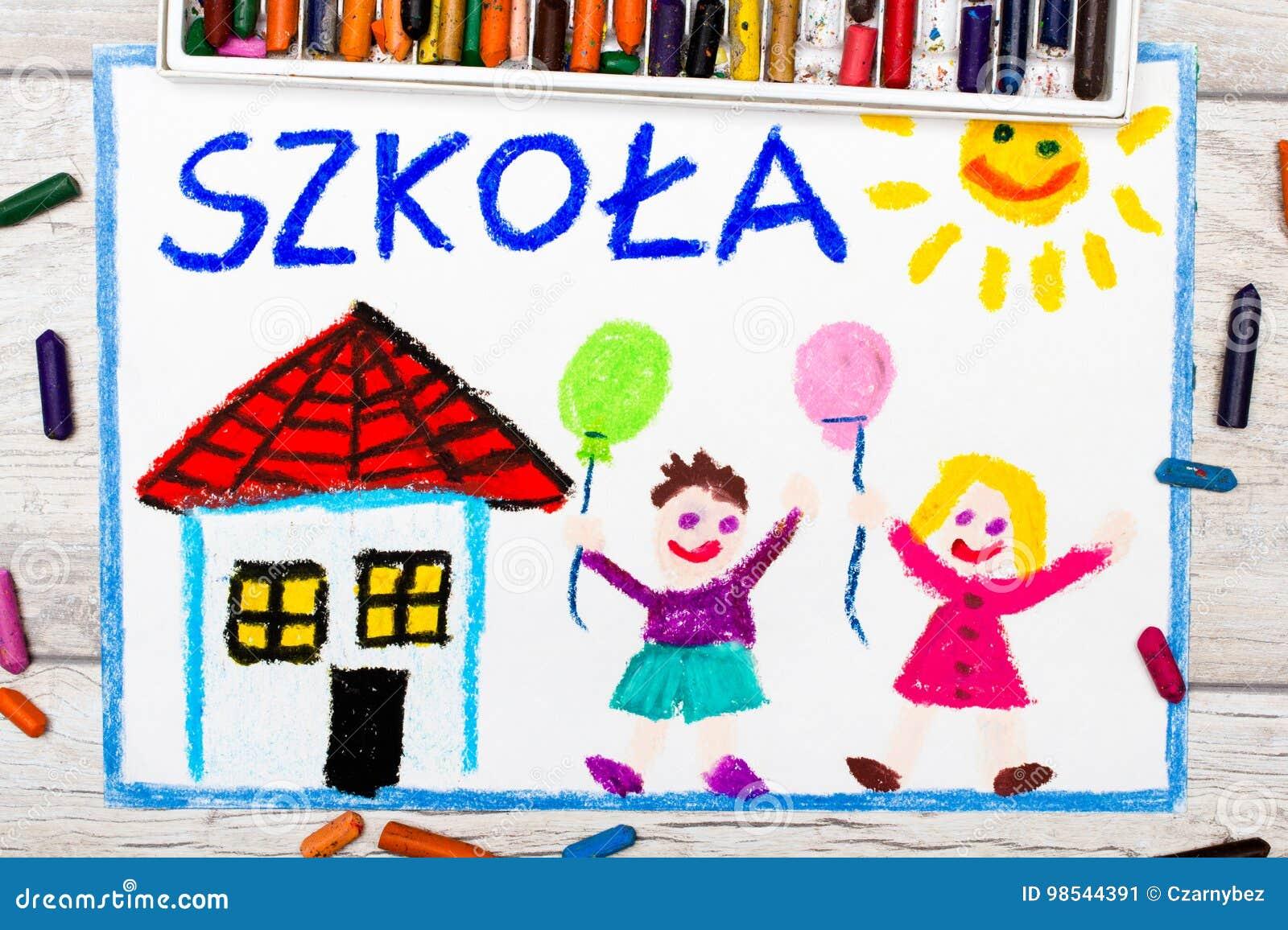 Foto av den färgrika teckningen: Polskt ord SKOLA,
