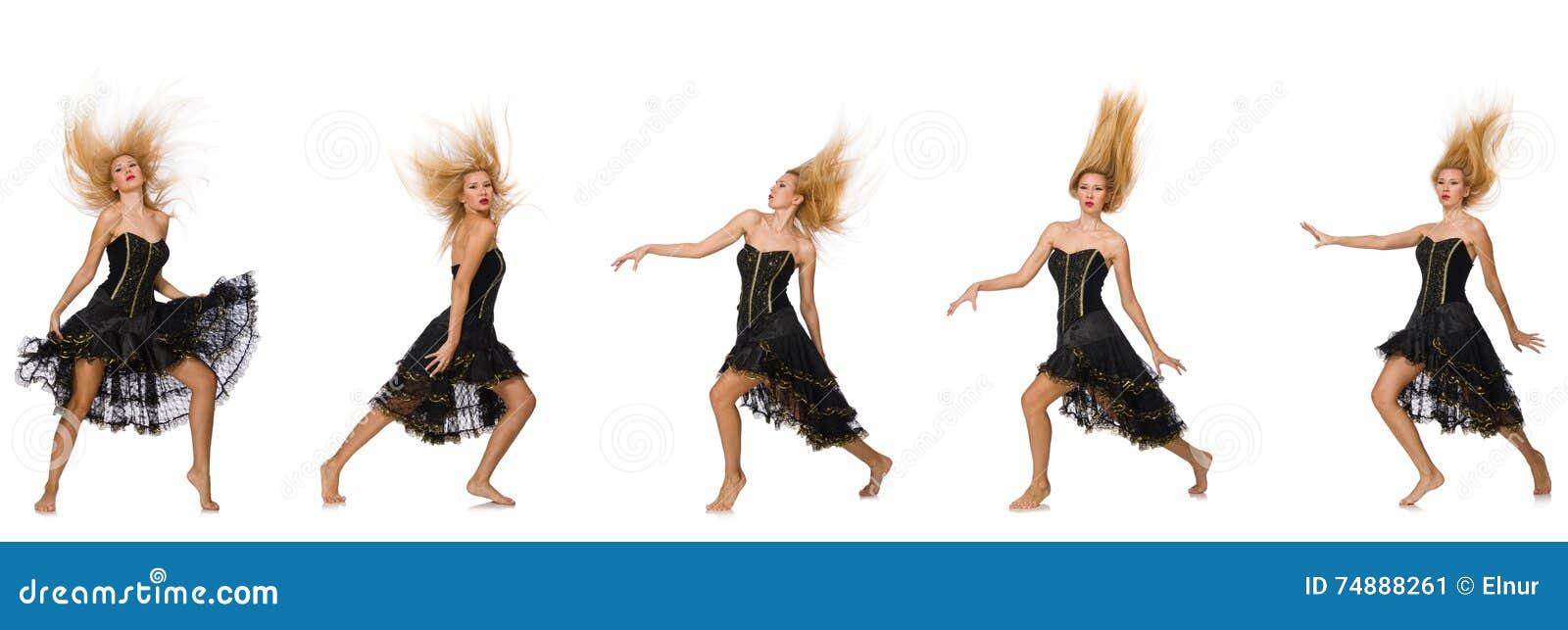 A foto composta da mulher em várias poses