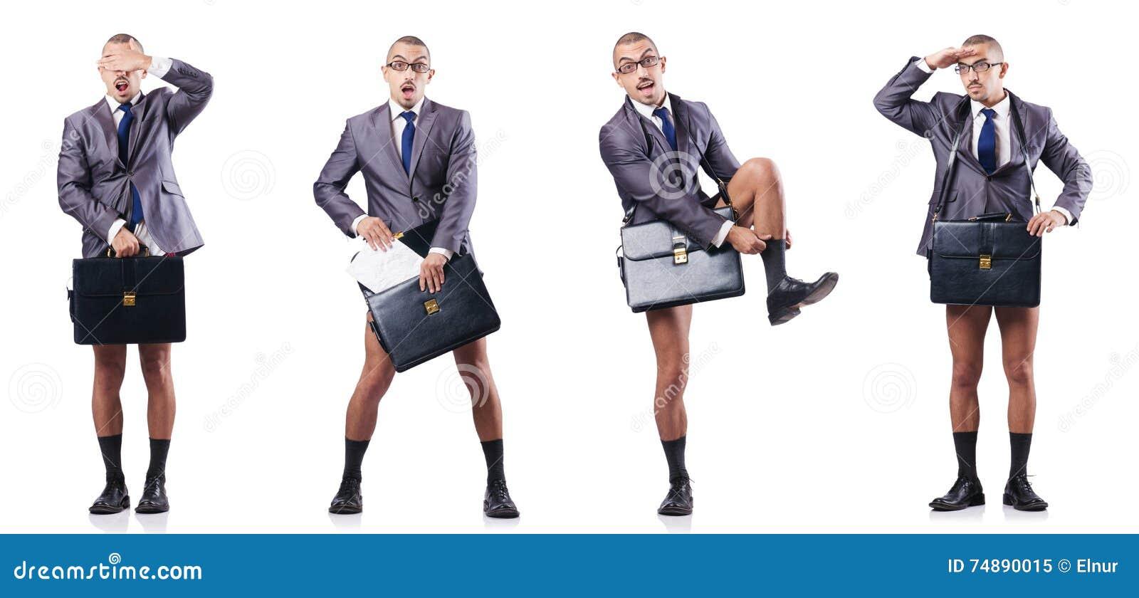 A foto composta do homem de negócios despido no branco