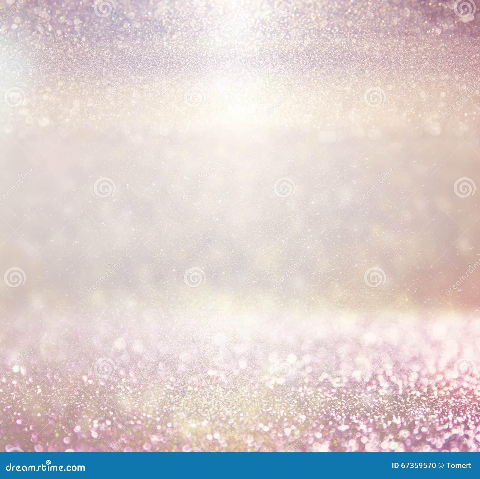 Foto cor-de-rosa Defocused do fundo das luzes do roxo e do ouro