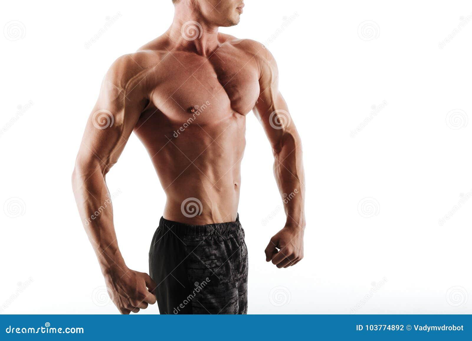 Foto cosechada del hombre muscular joven aislado en el fondo blanco