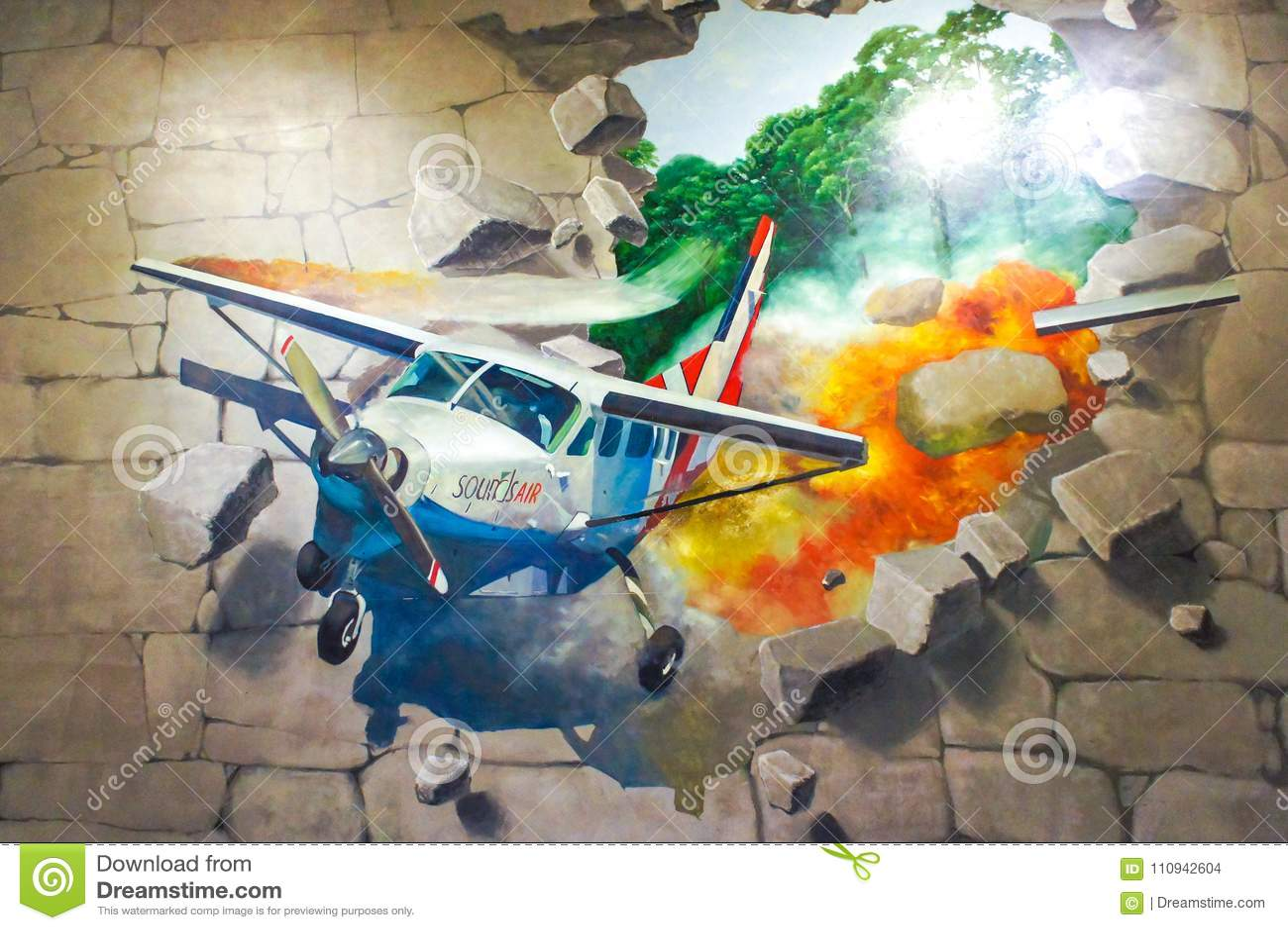 A foto da pintura de parede 3D do avião de queda conduziu fora da parede de tijolo de pedra
