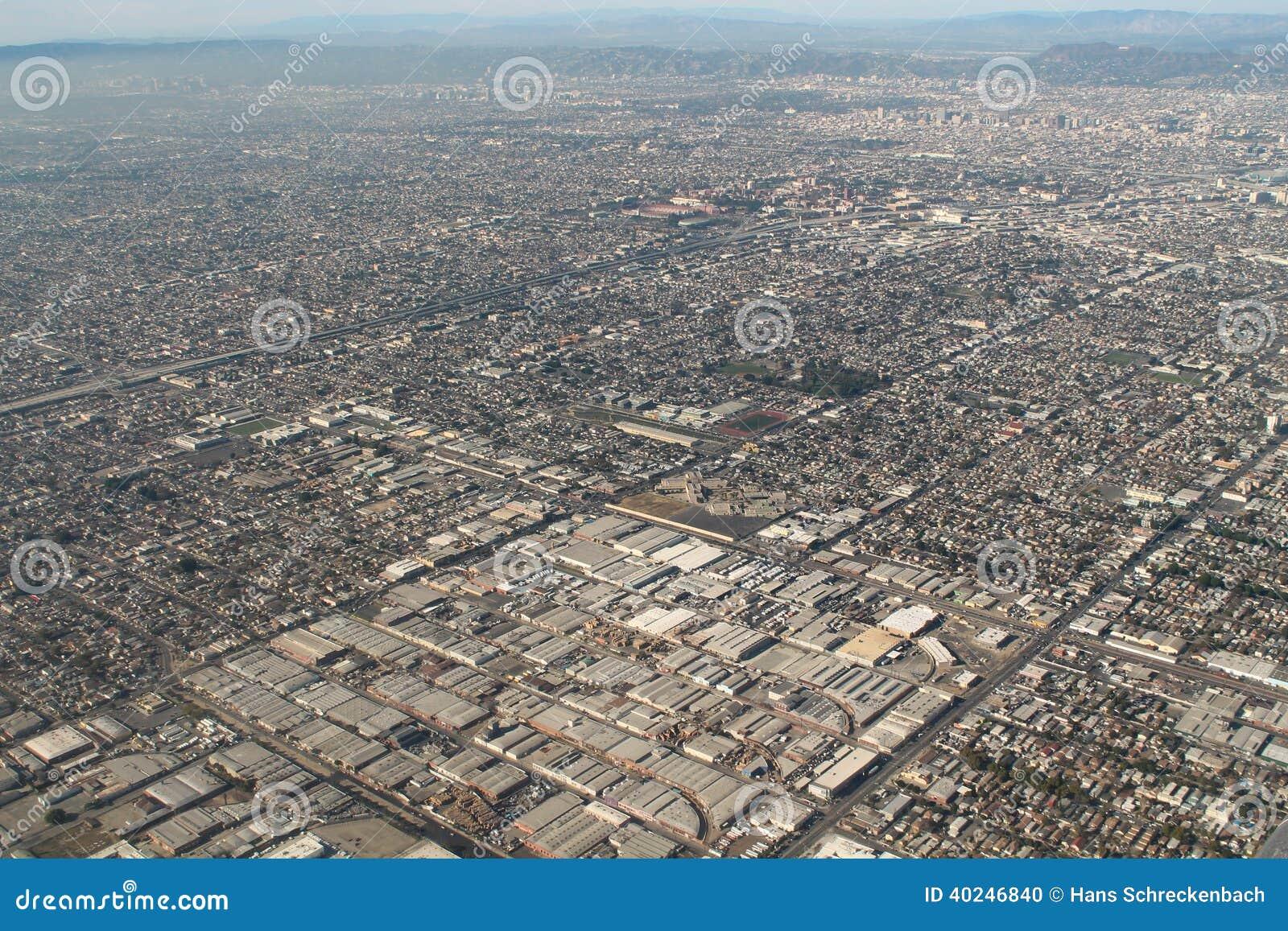 Foto de la antena de los suburbios de Los Ángeles