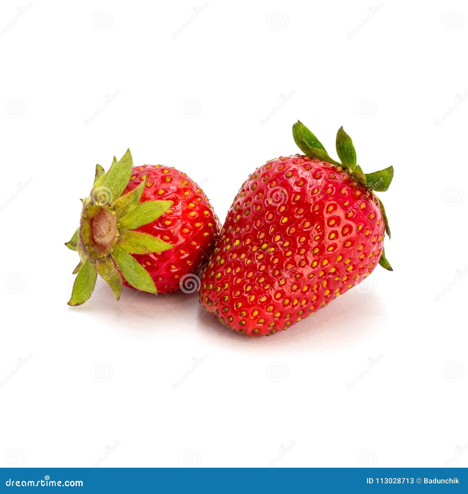 Foto de la fresa roja en el fondo blanco