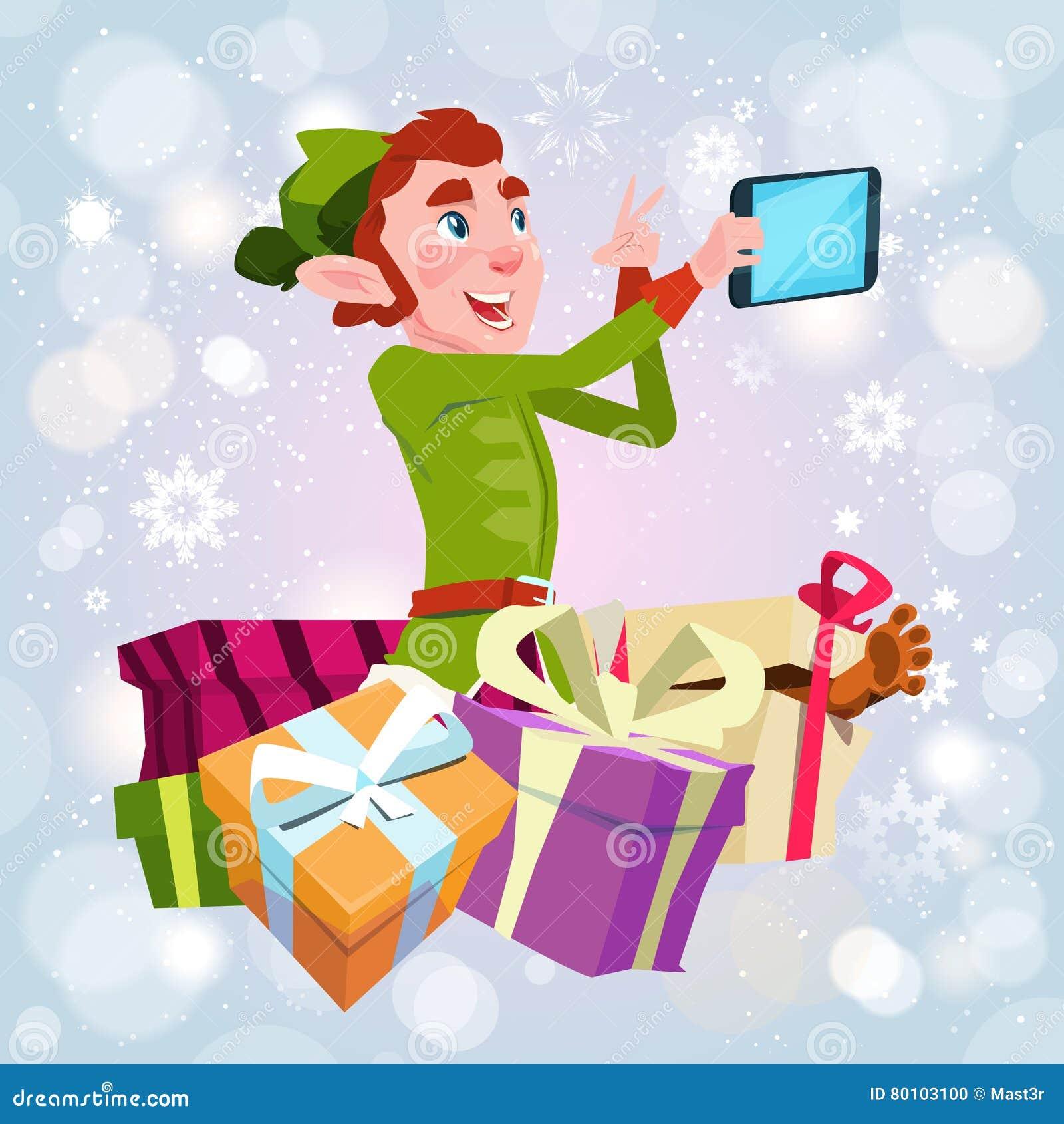 Foto de Santa Claus Helper Green Elf Making Selfie, cartão do feriado do Natal do ano novo