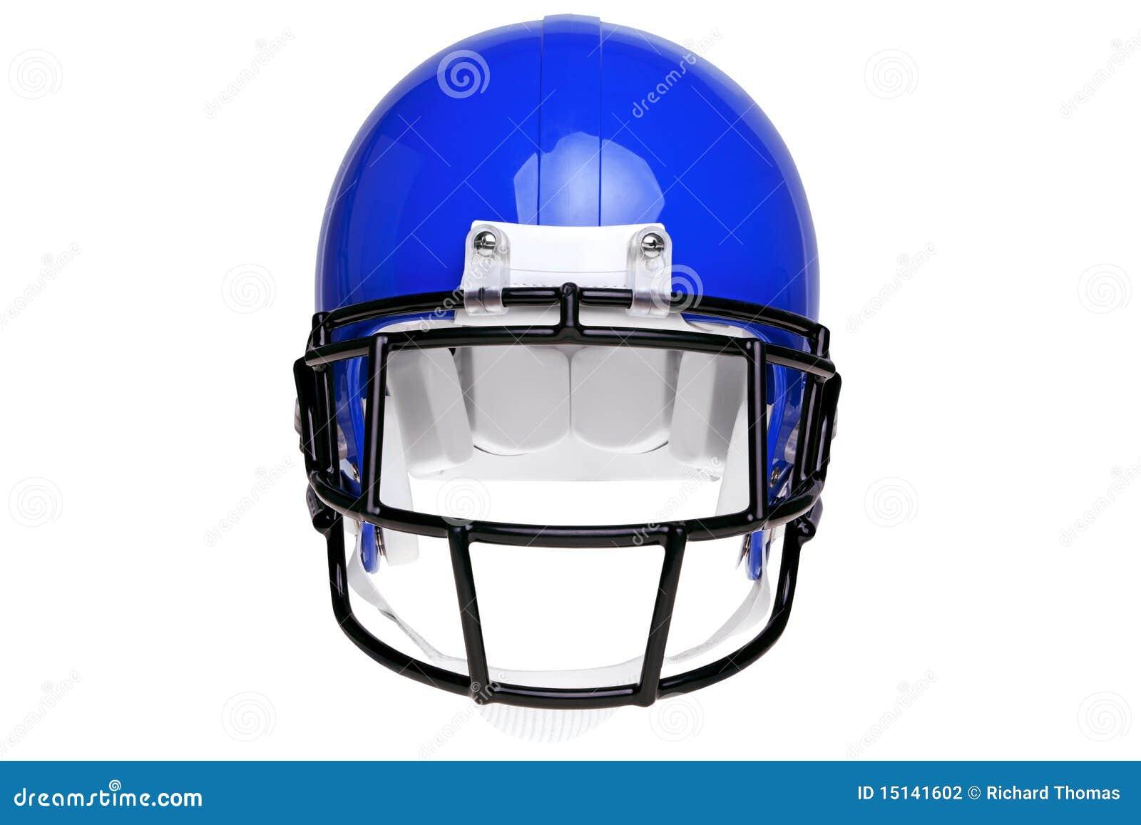 Foto de un casco azul del fútbol americano aislado en un fondo blanco con  el camino de recortes detallado. 0429dadcdcf