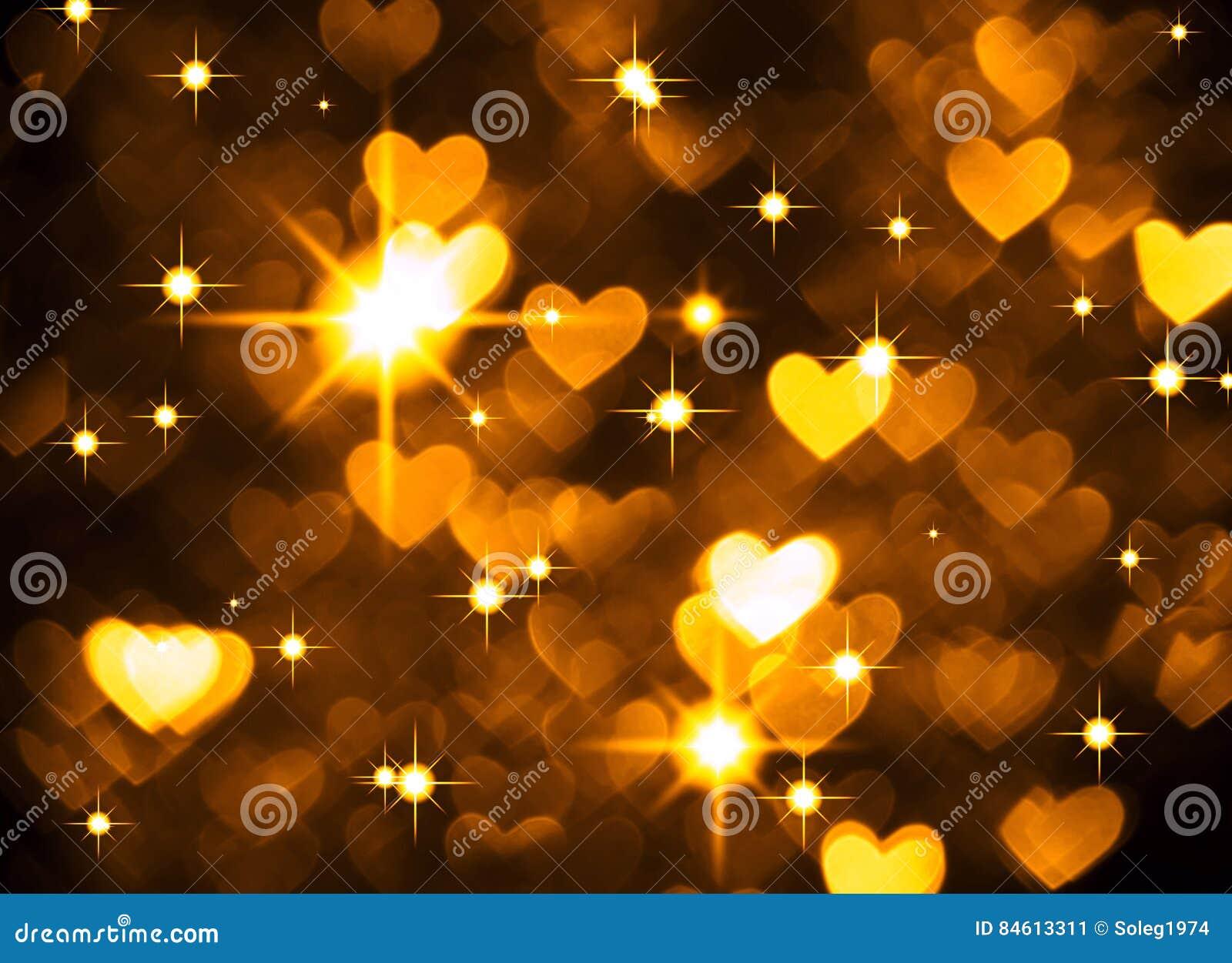 Foto del boke del fondo del cuore, colore giallo scuro Festa, celebrazione e contesto astratti del biglietto di S. Valentino