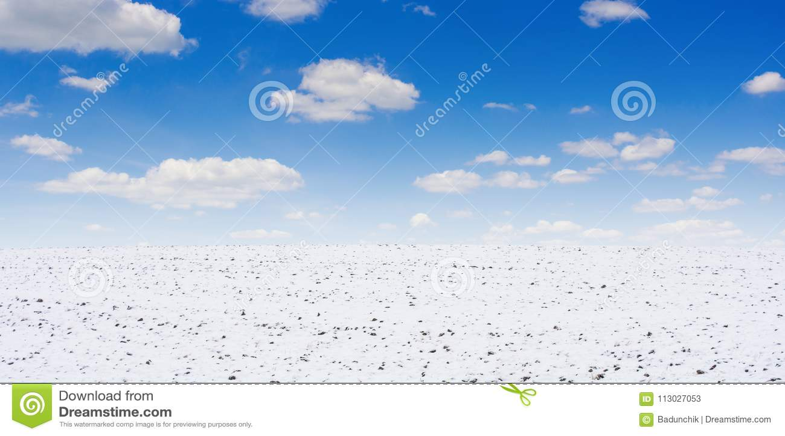 Foto del campo agrícola cubierta con nieve en invierno