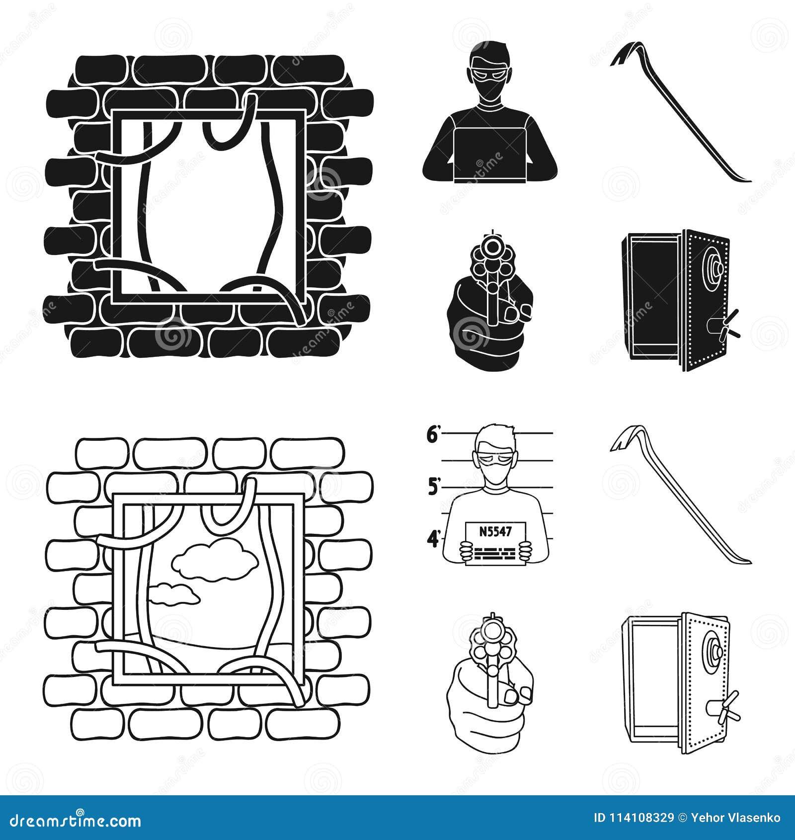 Foto del criminal, pedazo, caja fuerte abierta, arma direccional Iconos determinados de la colección del crimen en el negro, símb