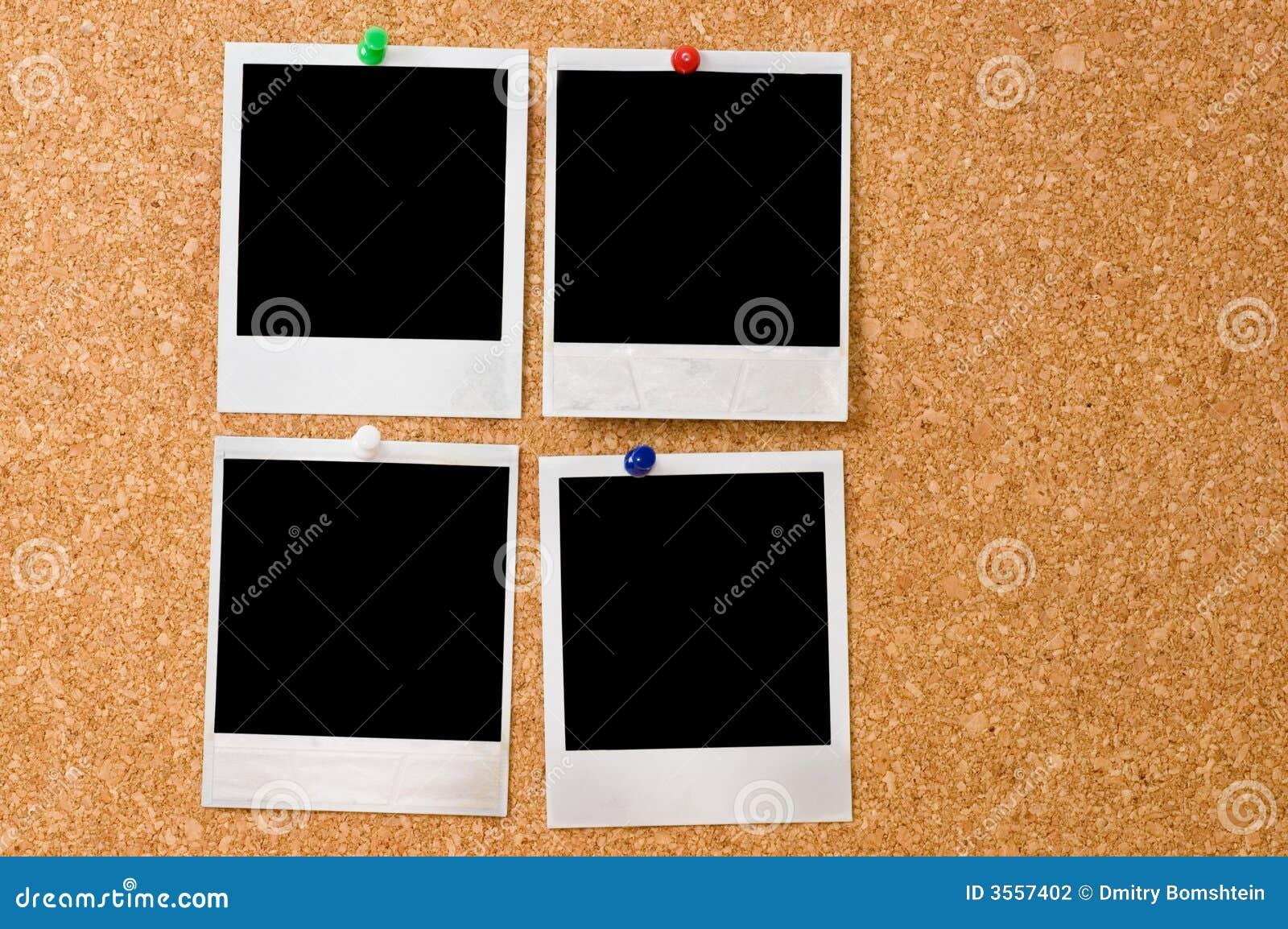 Foto del Polaroid su un corkboard