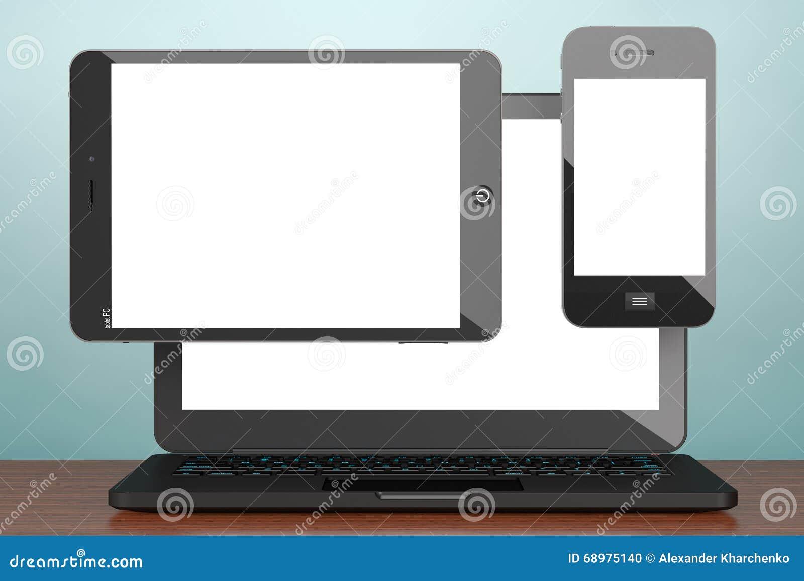 Foto del viejo estilo Ordenador portátil, teléfono móvil y PC de la tableta renderin 3D