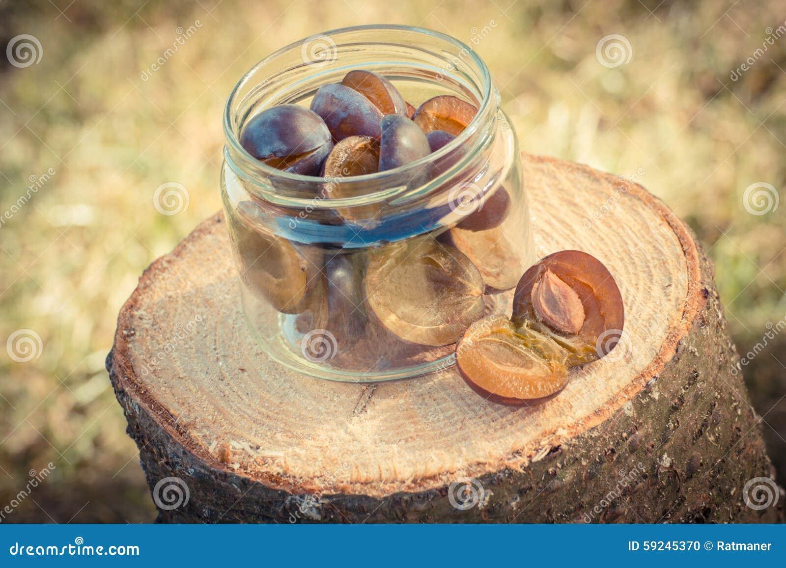 Foto del vintage, ciruelos en el tarro de cristal en tocón de madera en jardín el día soleado